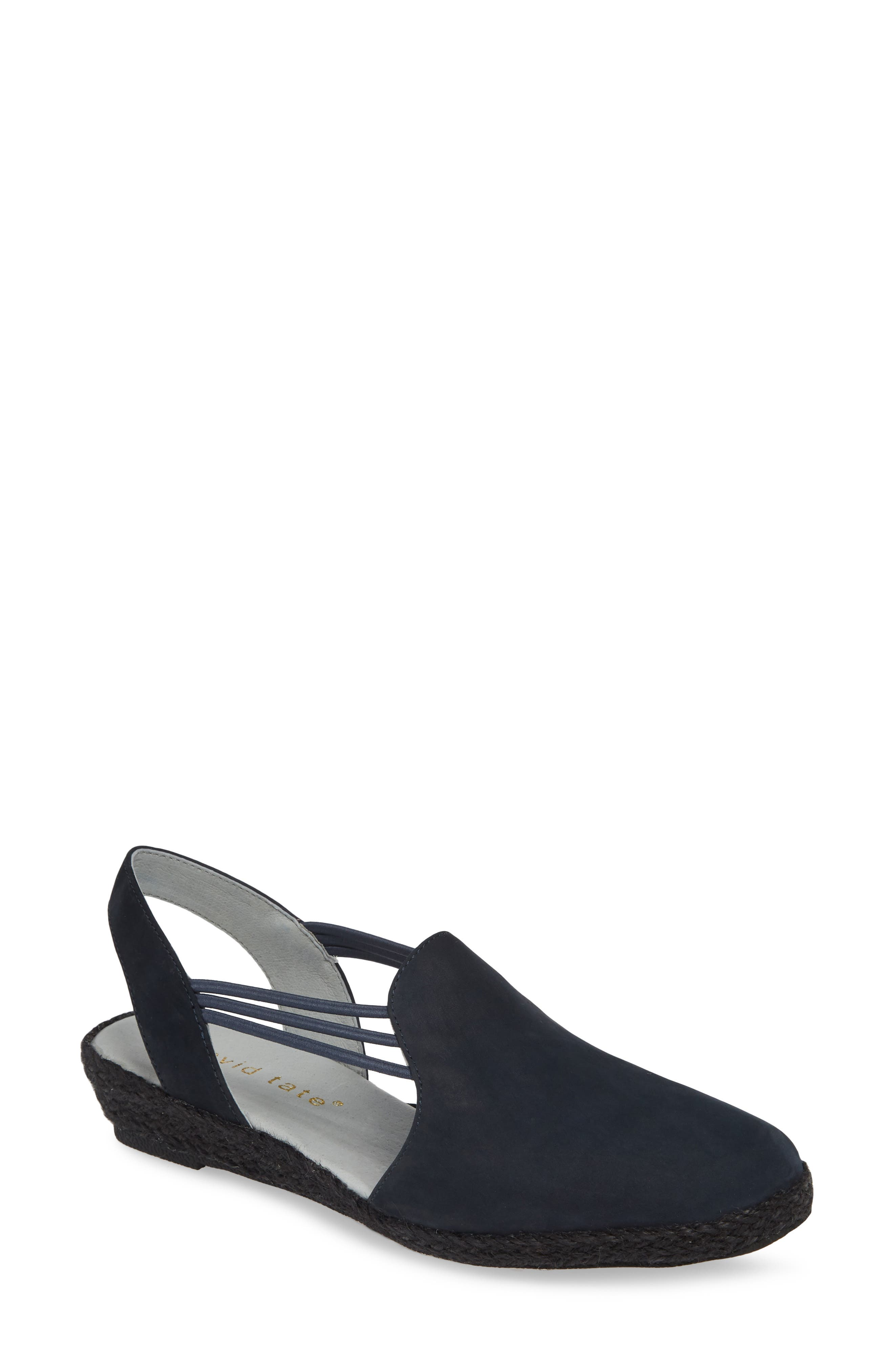 DAVID TATE,                             'Nelly' Slingback Wedge Sandal,                             Main thumbnail 1, color,                             NAVY NUBUCK LEATHER