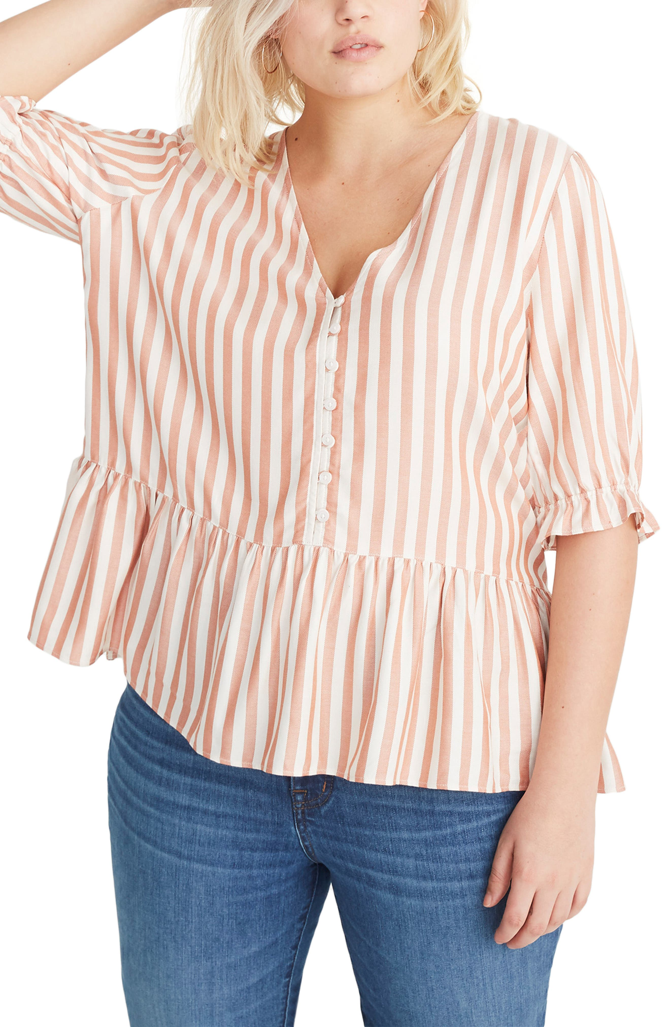 MADEWELL,                             Courtyard Ruffle Hem Top,                             Alternate thumbnail 2, color,                             STRIPE