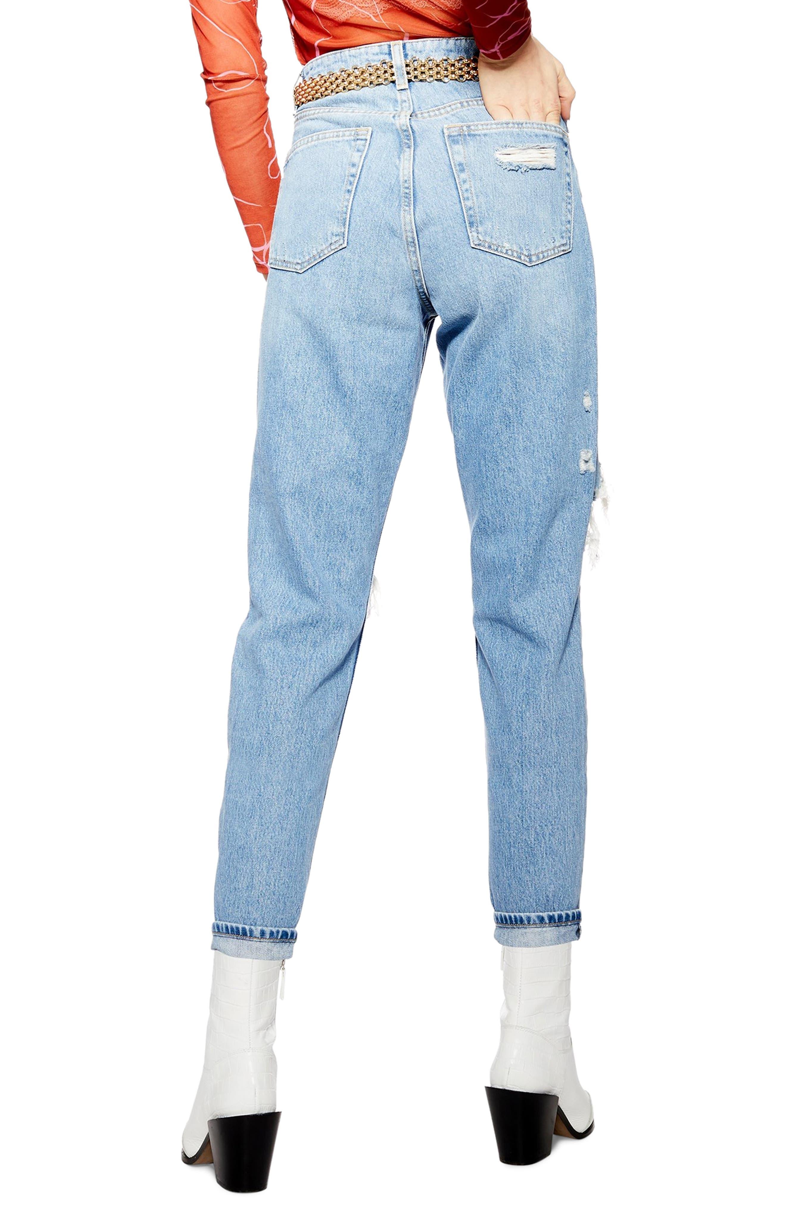 TOPSHOP,                             Destroyed Mom Jeans,                             Alternate thumbnail 2, color,                             BLEACH