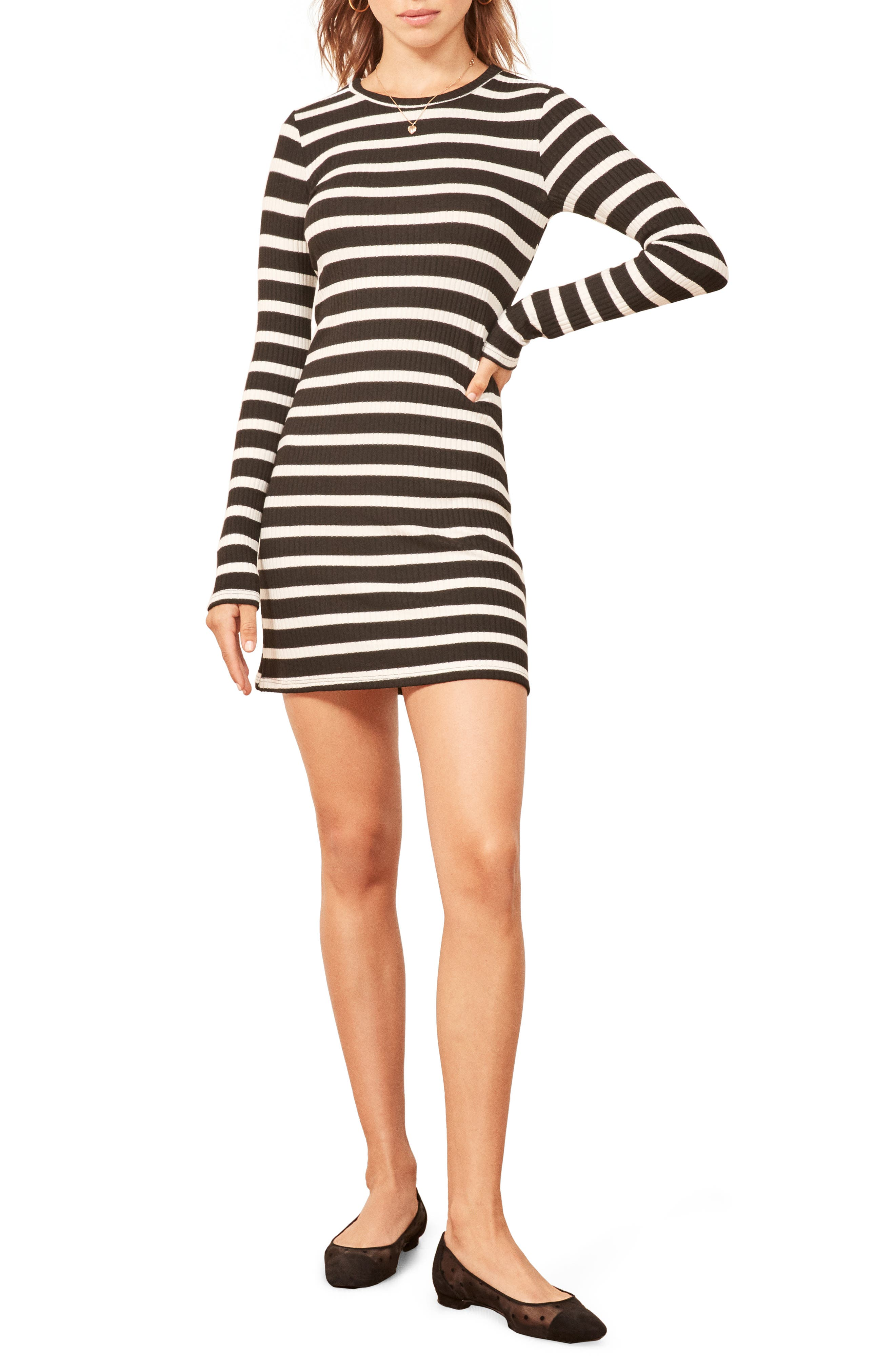 Jeanne Rib Knit Dress,                             Main thumbnail 1, color,                             HENRI STRIPE