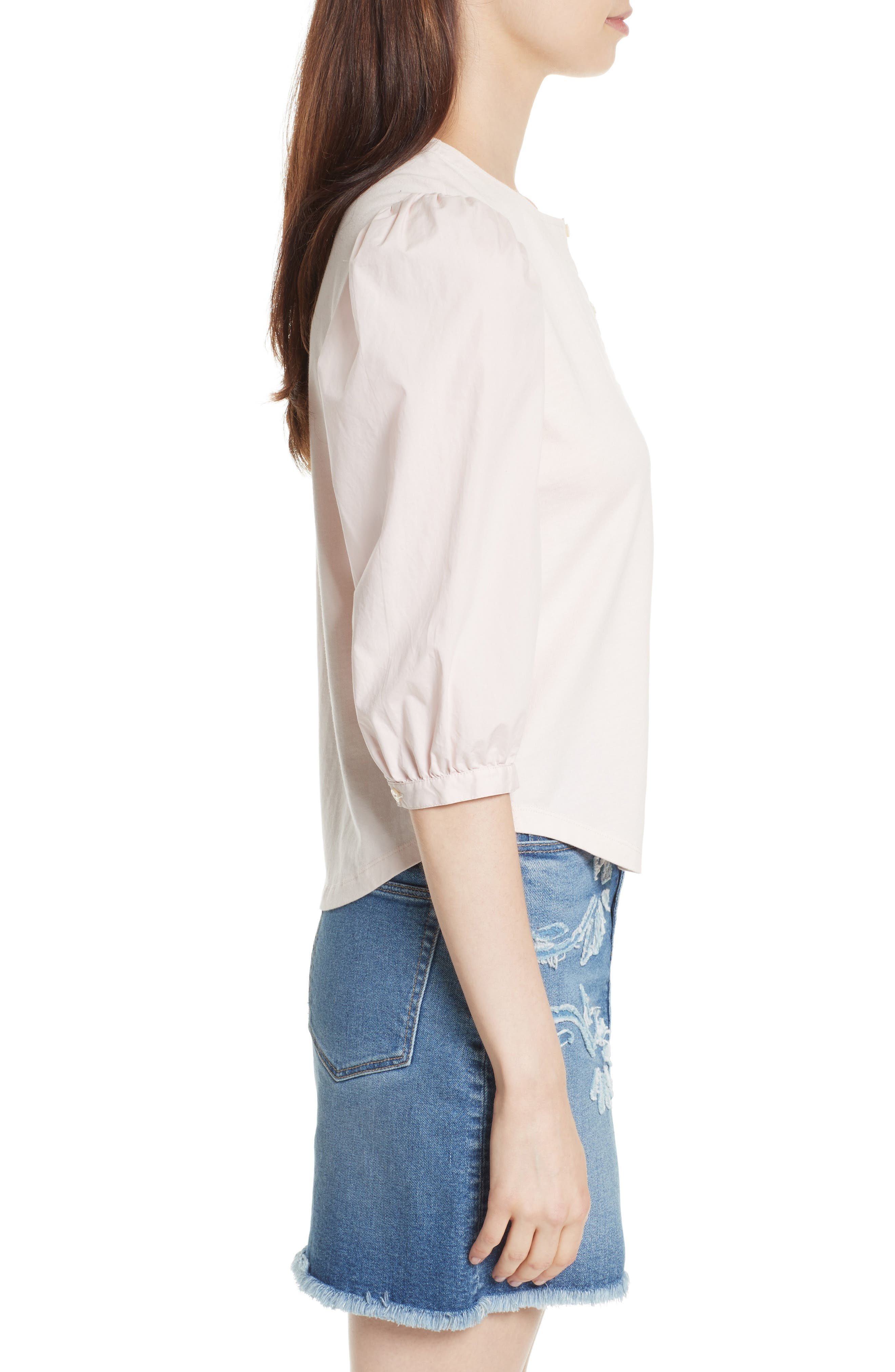 Poplin Sleeve Jersey Top,                             Alternate thumbnail 3, color,                             659