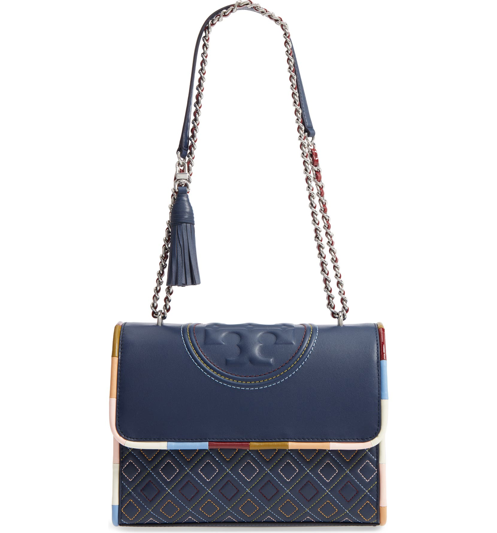 Tory Burch Fleming Piped Leather Convertible Shoulder Bag  321659131a23e