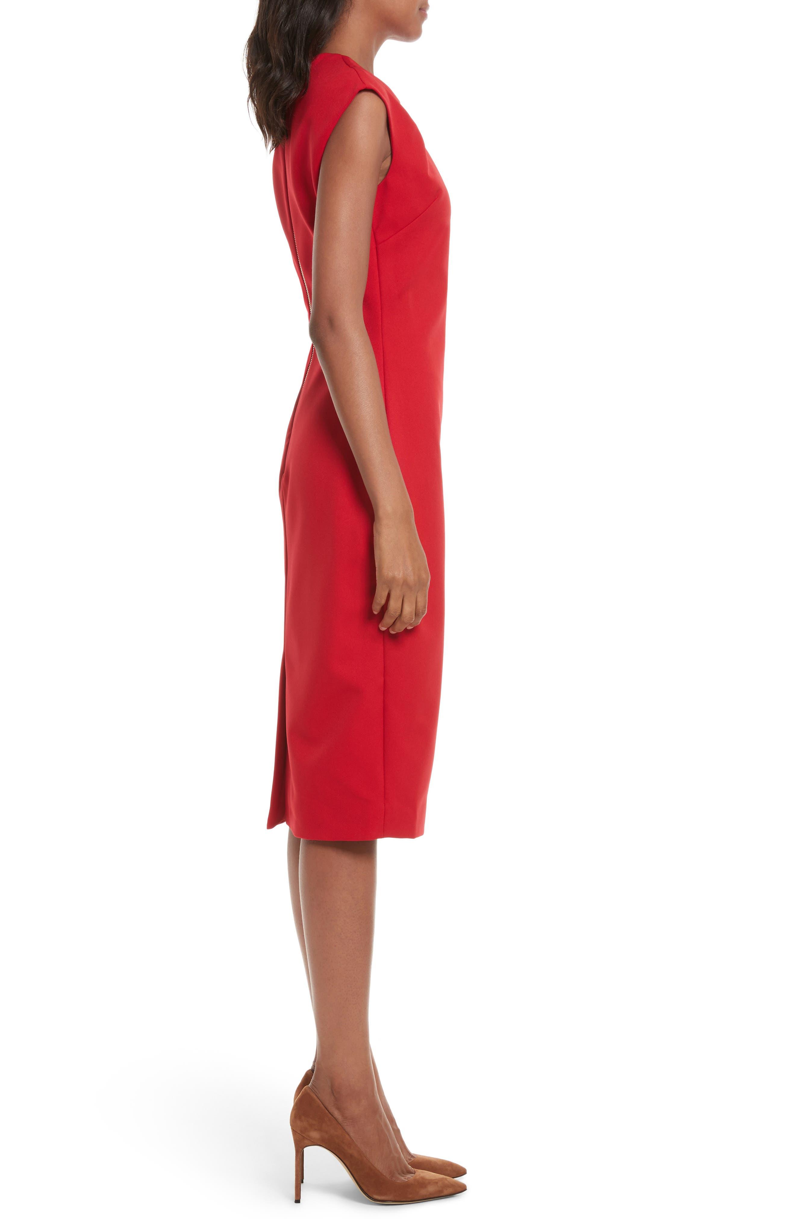 Kezzia Bow Neck Body-Con Dress,                             Alternate thumbnail 6, color,