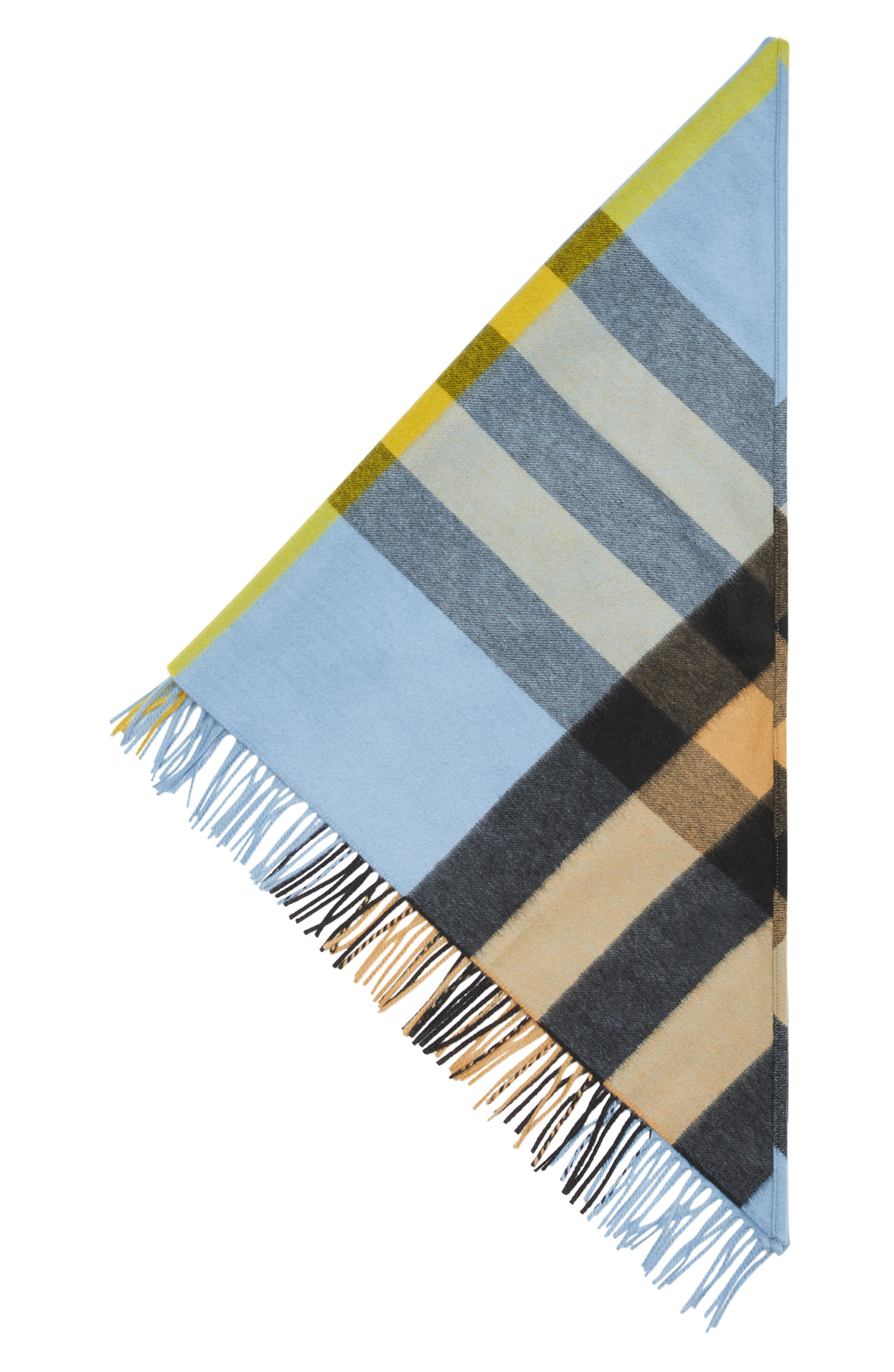 BURBERRY,                             Mega Check Cashmere Scarf,                             Alternate thumbnail 3, color,                             PALE CARBON BLUE