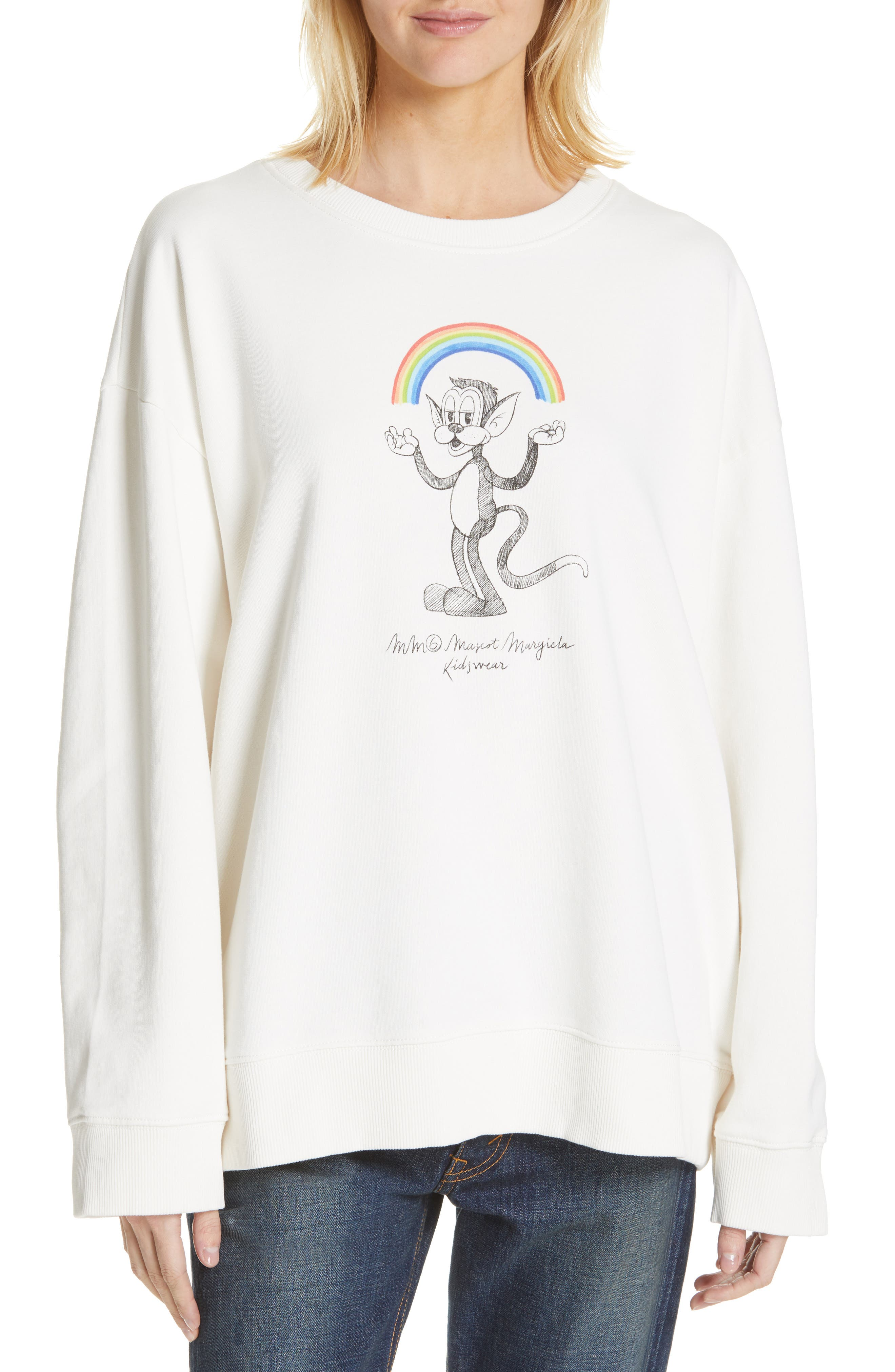 MM6 MAISON MARGIELA Kidswear Mascot Graphic Sweatshirt, Main, color, OFF WHITE