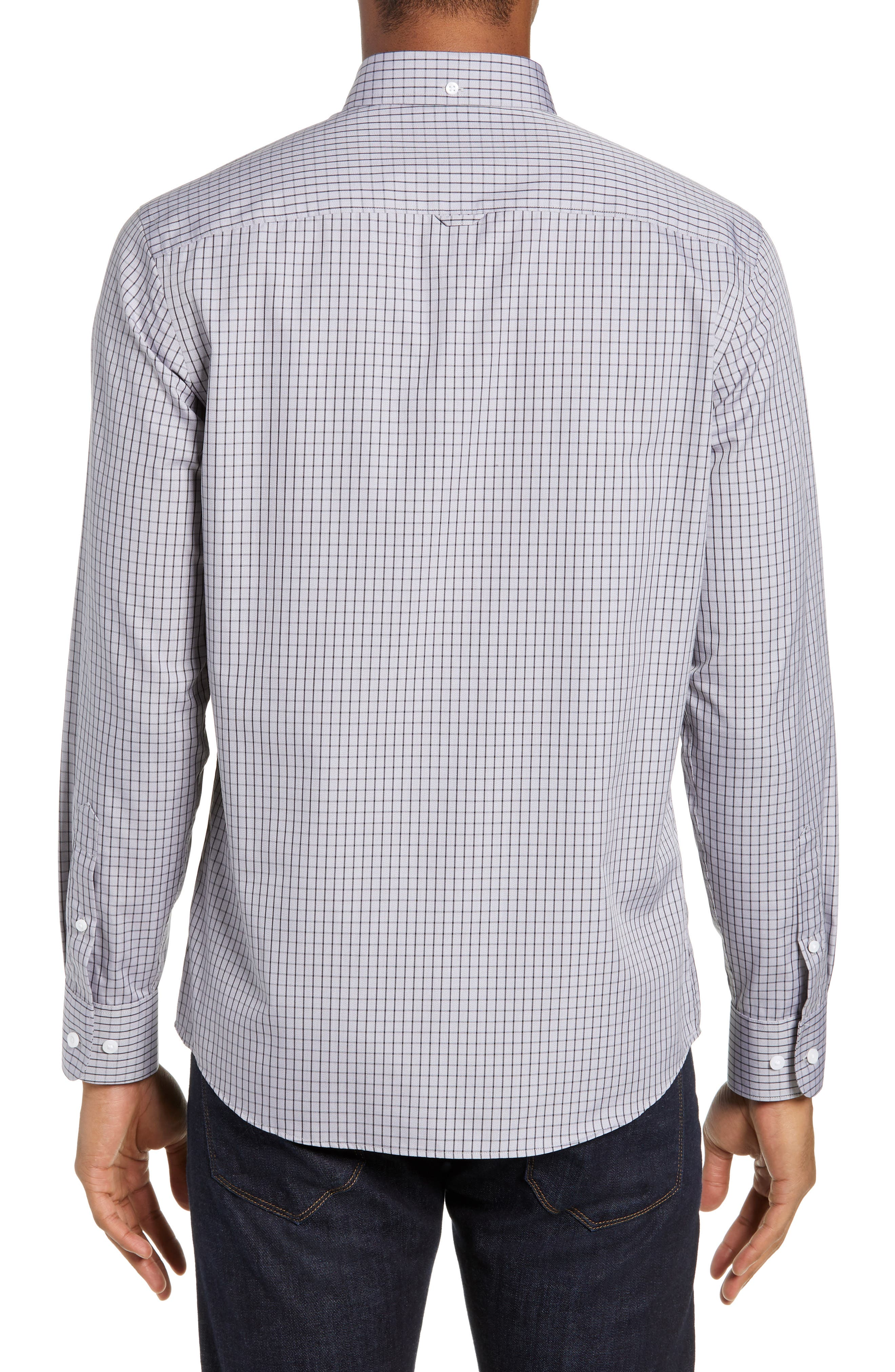 NORDSTROM MEN'S SHOP,                             Trim Fit Non-Iron Check Sport Shirt,                             Alternate thumbnail 3, color,                             GREY FILIGREE MINIGRID