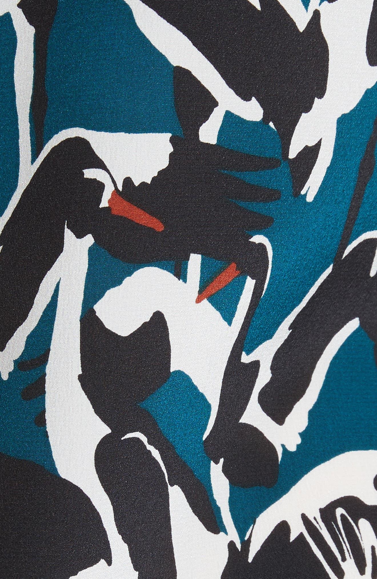 Colour by Numbers Crane Print Silk Shirt,                             Alternate thumbnail 5, color,                             440