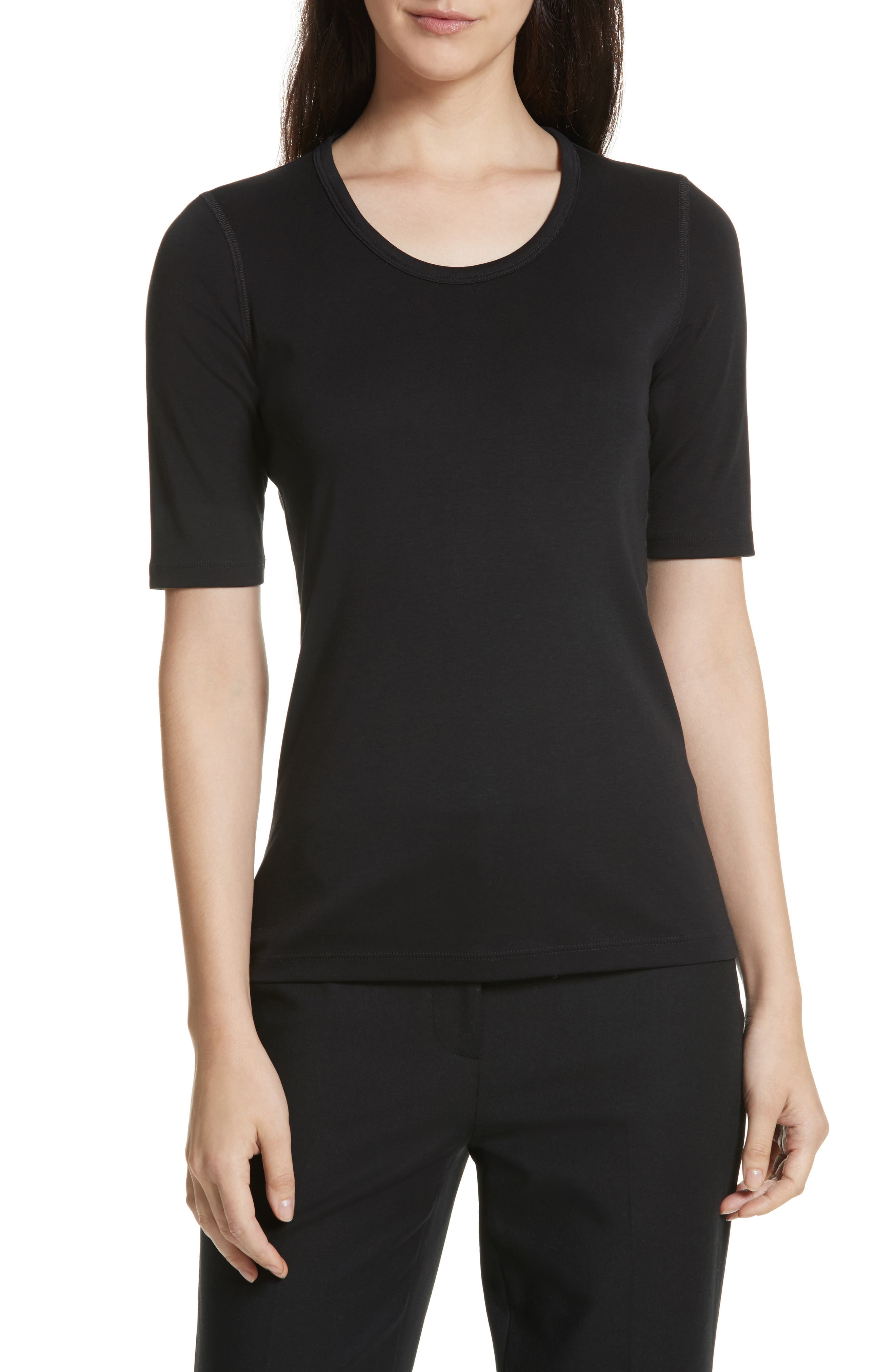 Pima Cotton Top,                             Main thumbnail 1, color,                             BLACK
