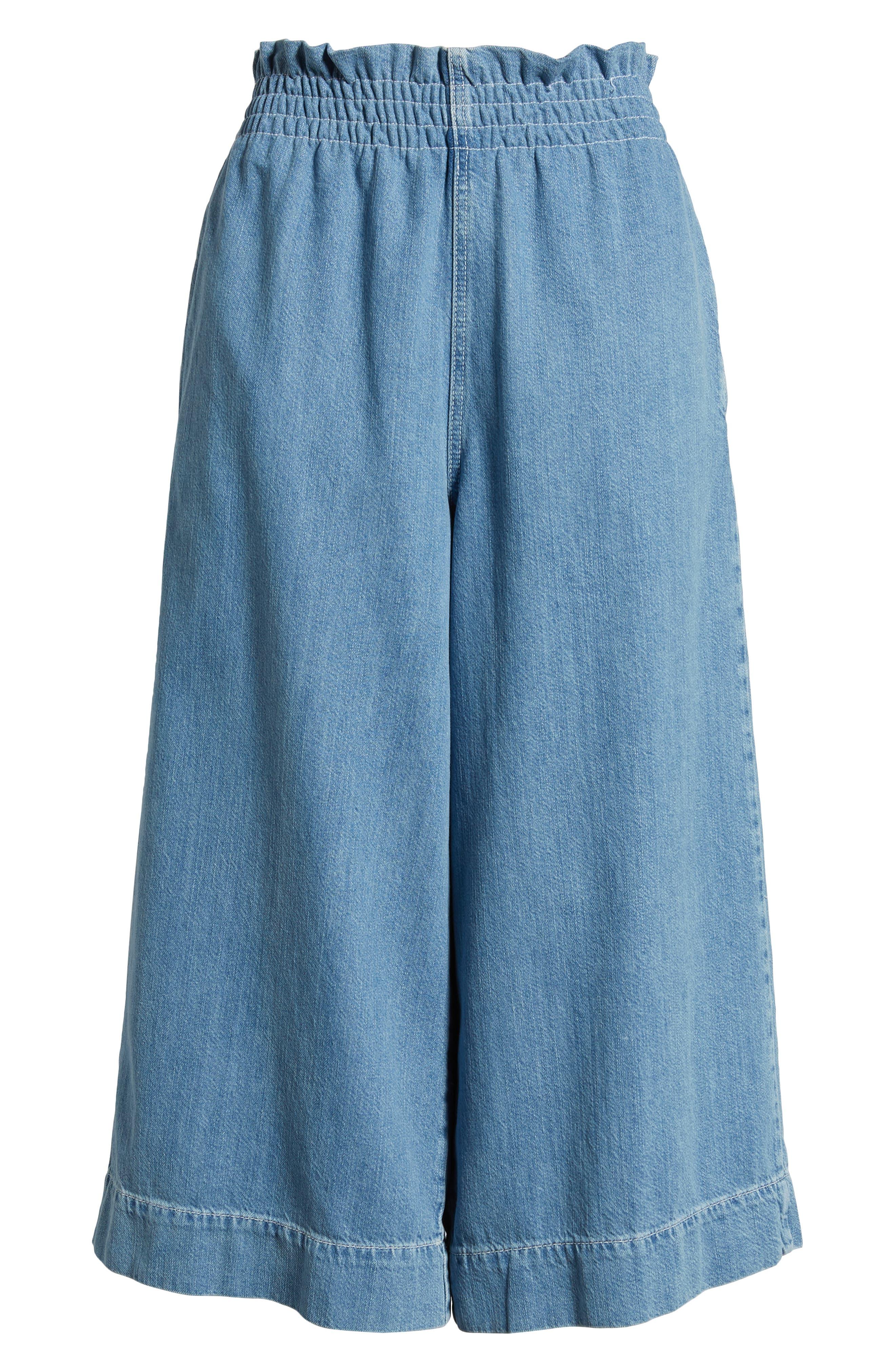 Wide Leg Crop Jeans,                             Alternate thumbnail 7, color,                             LIGHT DENIM