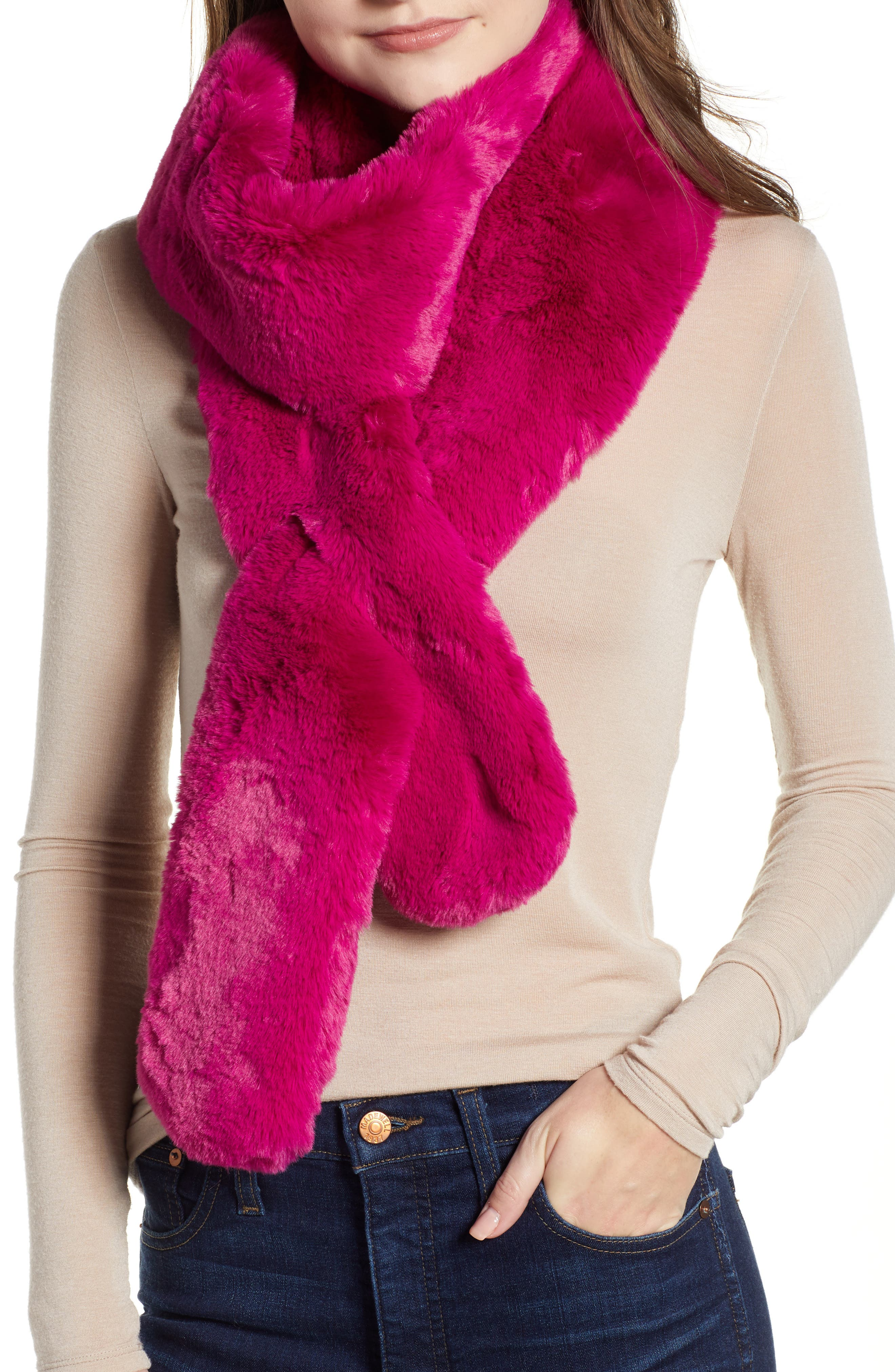 Faux Fur Long Scarf,                         Main,                         color, PINK PLUMIER