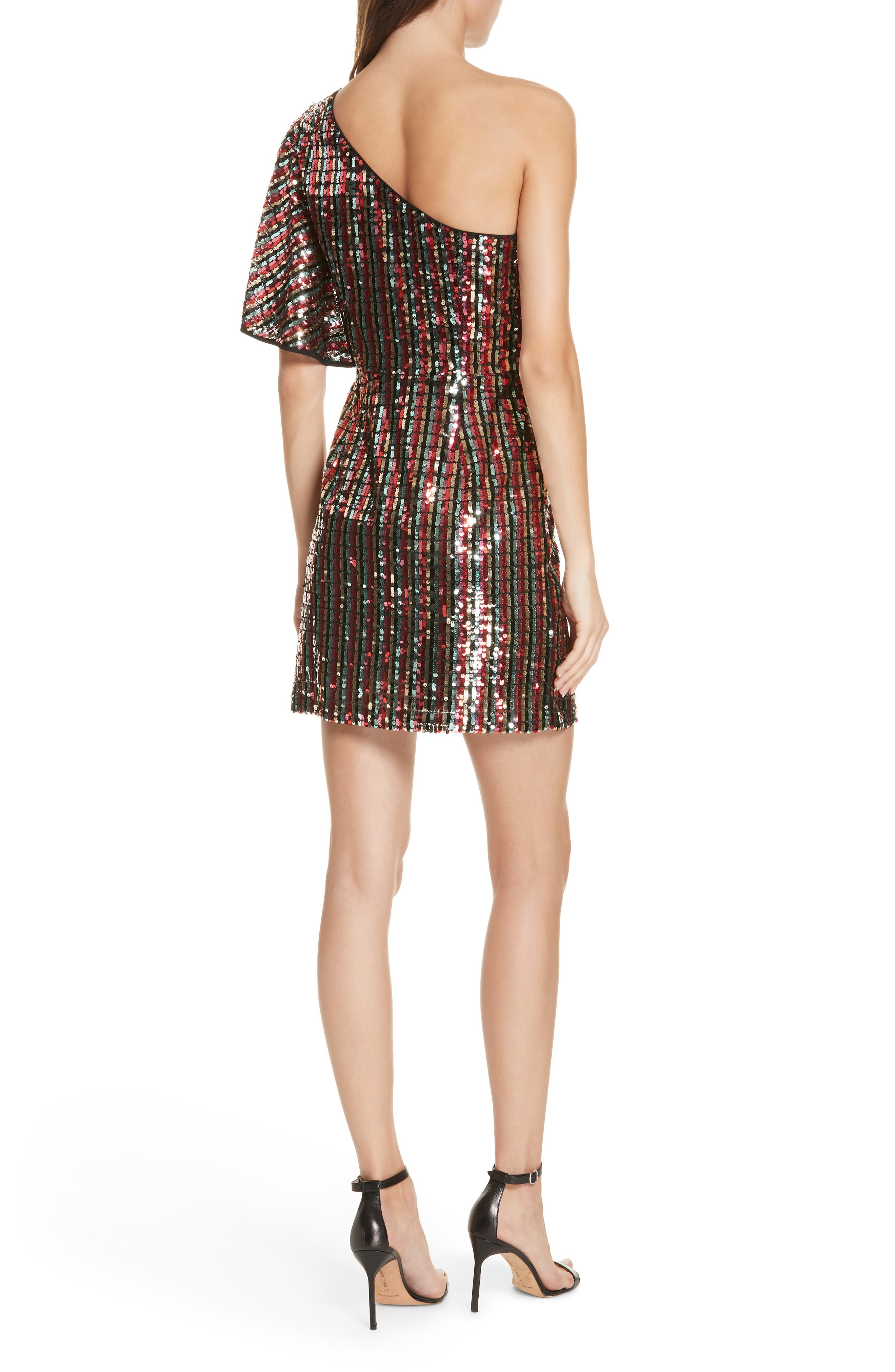 One Shoulder Sequin Dress,                             Alternate thumbnail 2, color,                             001
