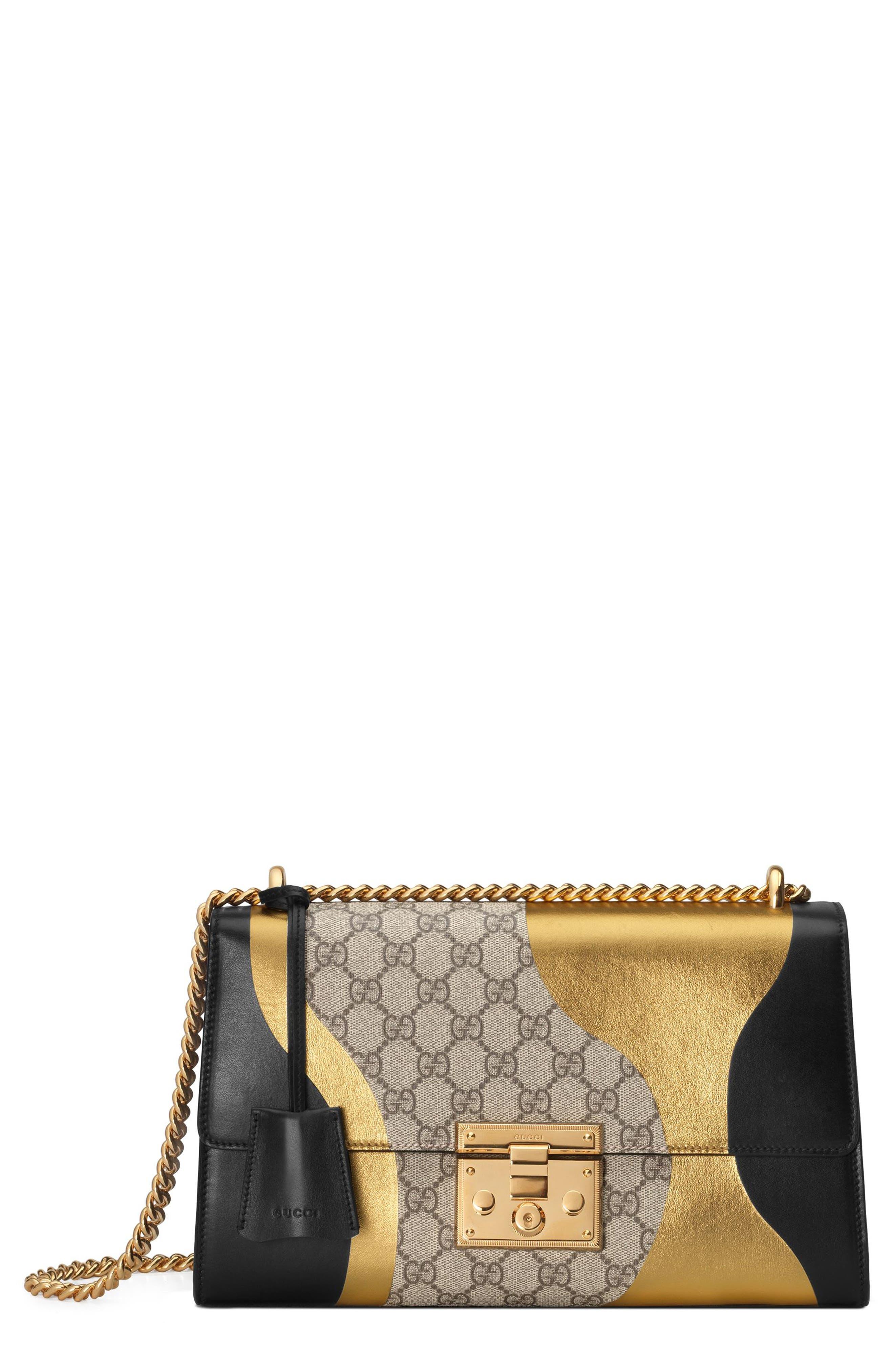 Medium Padlock GG Supreme Canvas & Leather Shoulder Bag,                             Main thumbnail 1, color,                             NERO/ORO VECCHIO