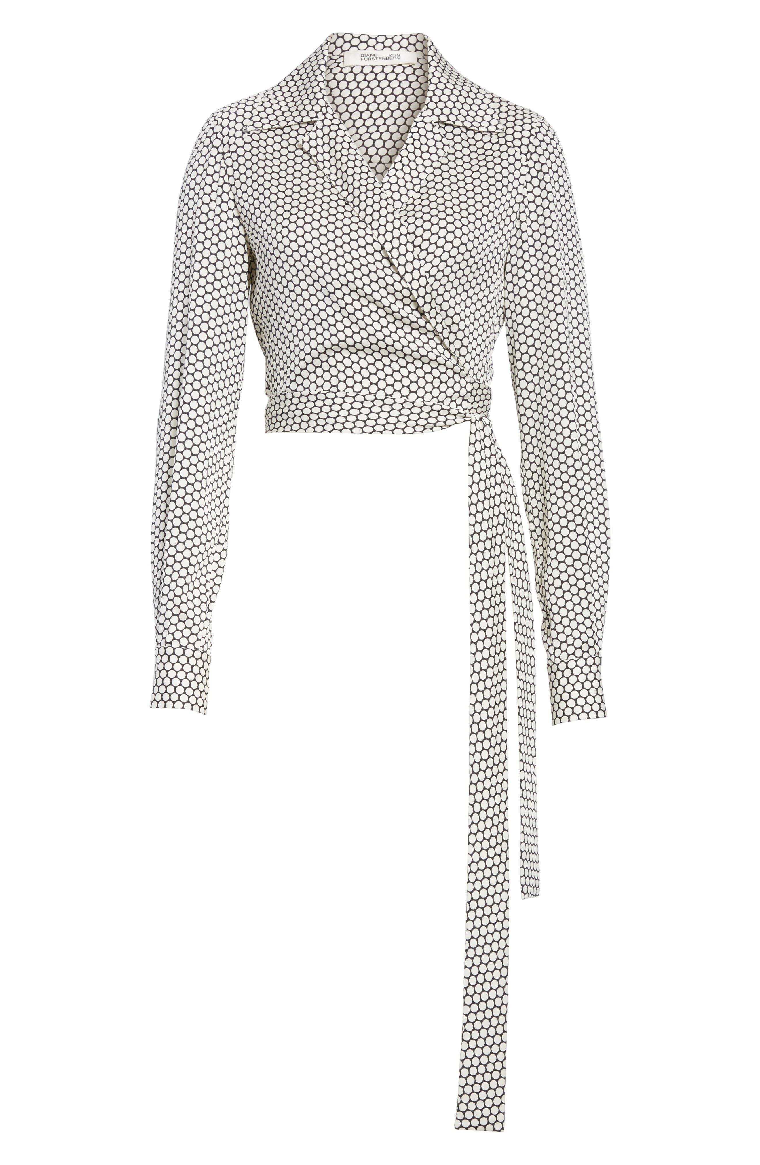 Diane von Furstenberg Stretch Silk Wrap Blouse,                             Alternate thumbnail 6, color,                             105