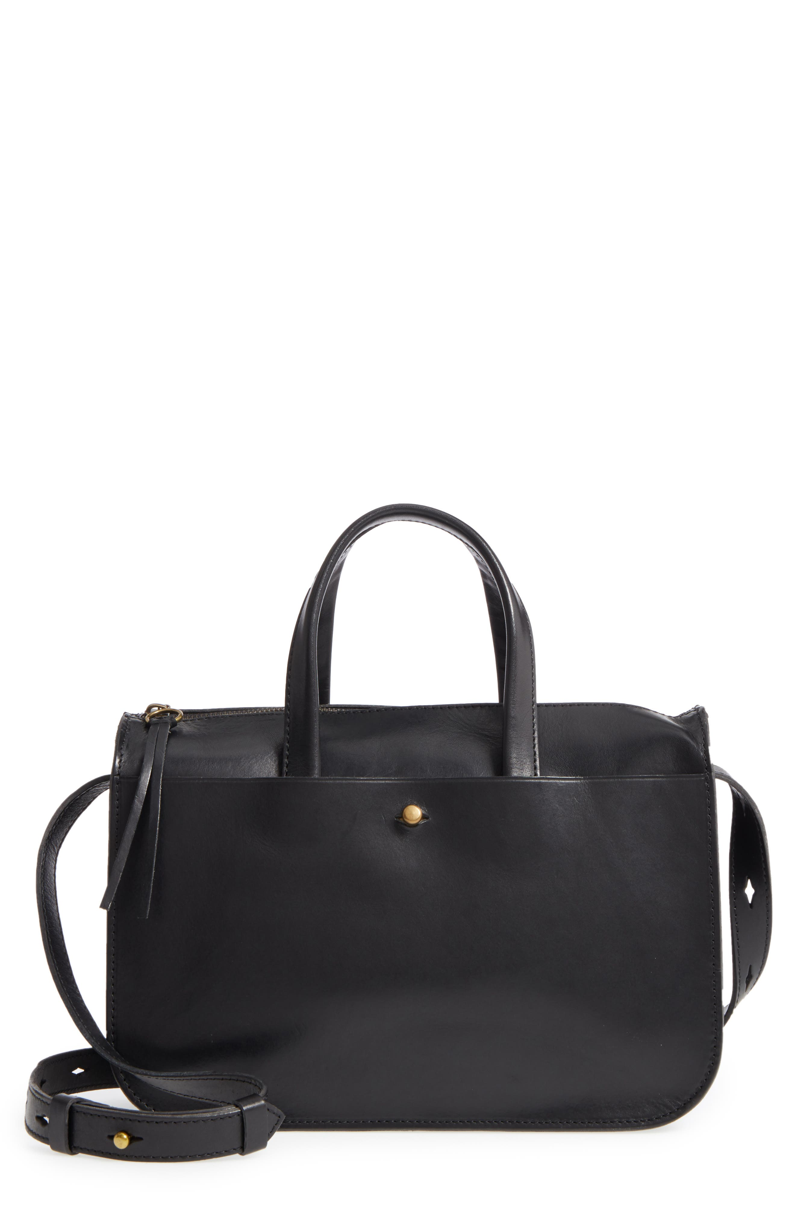 Montreal Leather Satchel,                         Main,                         color, 001