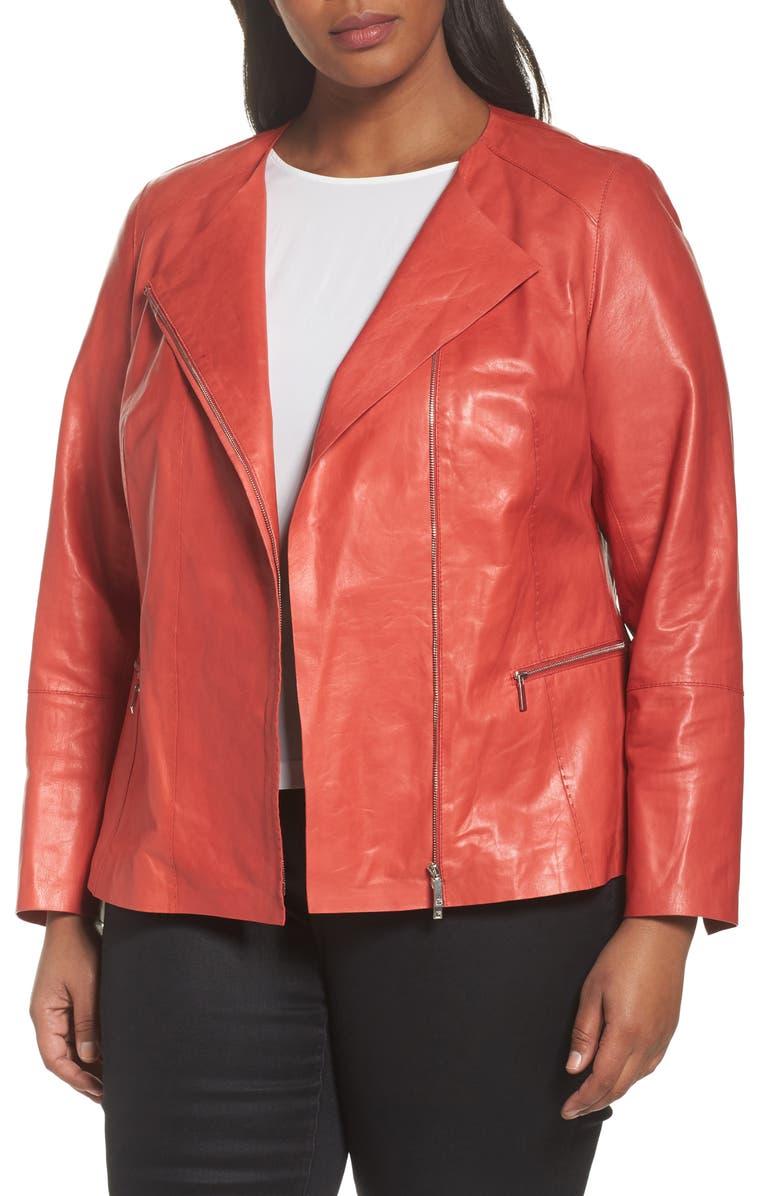 5b4bbe18ca9 Lafayette 148 New York Caridee Glazed Lambskin Leather Jacket (Plus ...