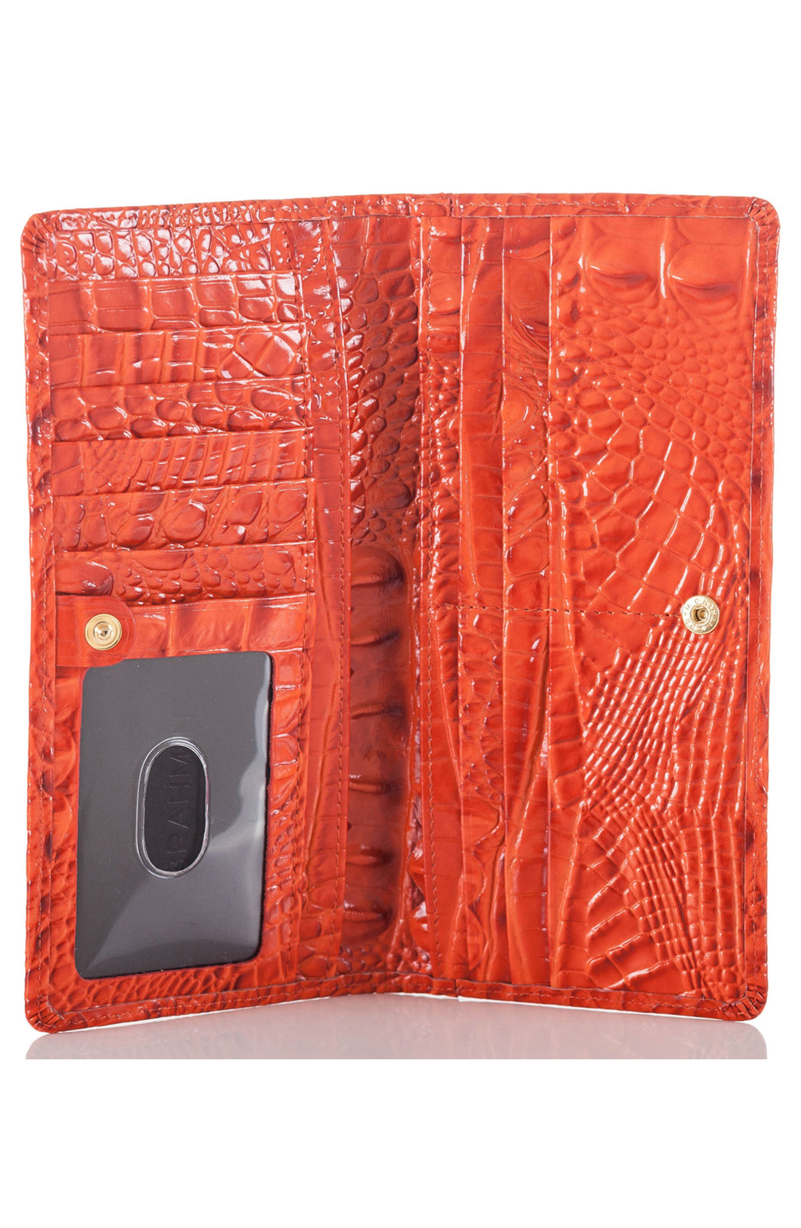 'Ady' Croc Embossed Continental Wallet,                             Alternate thumbnail 3, color,                             AMARYLLIS