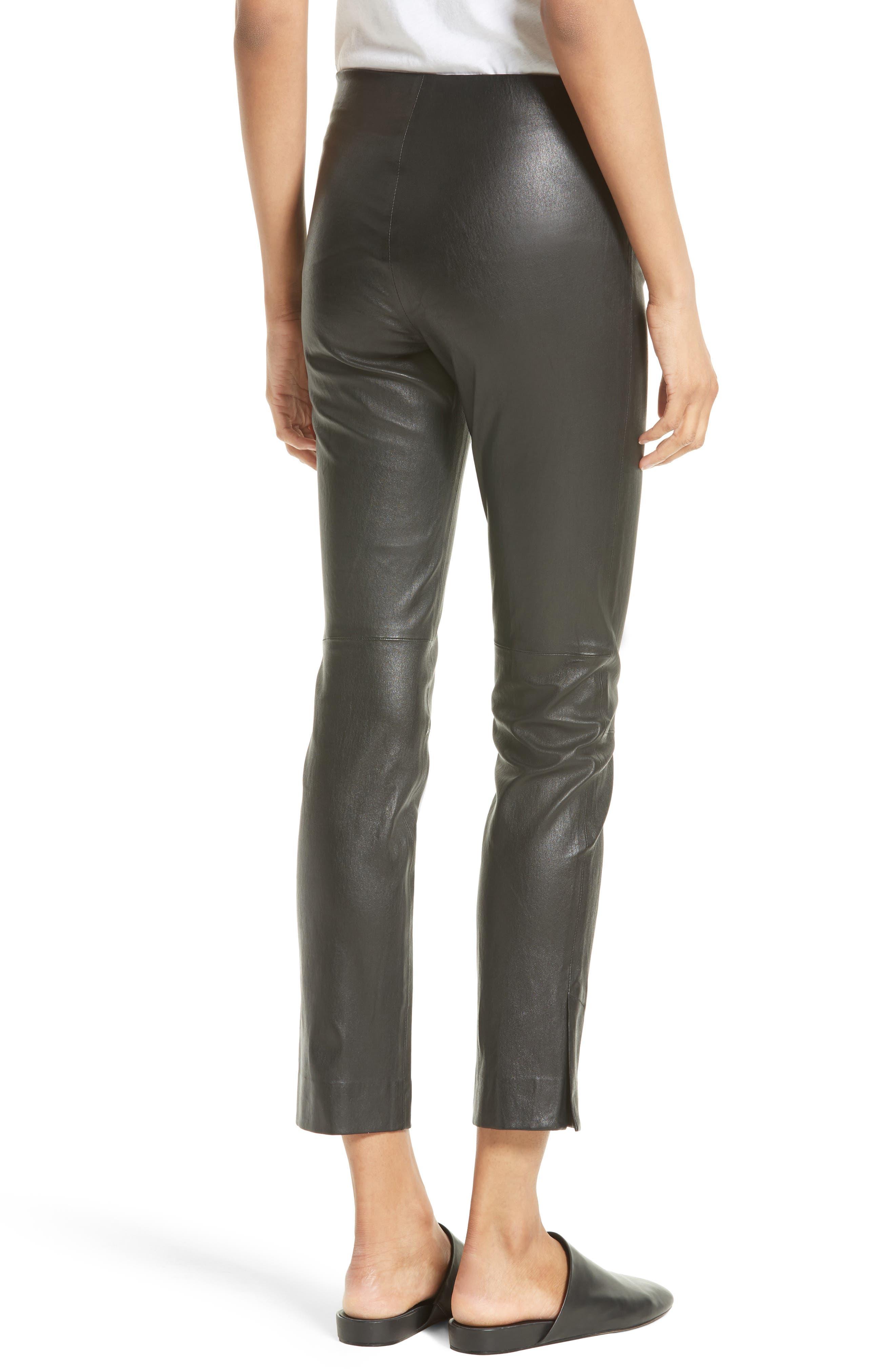 Slit Hem Crop Leather Pants,                             Alternate thumbnail 2, color,                             001