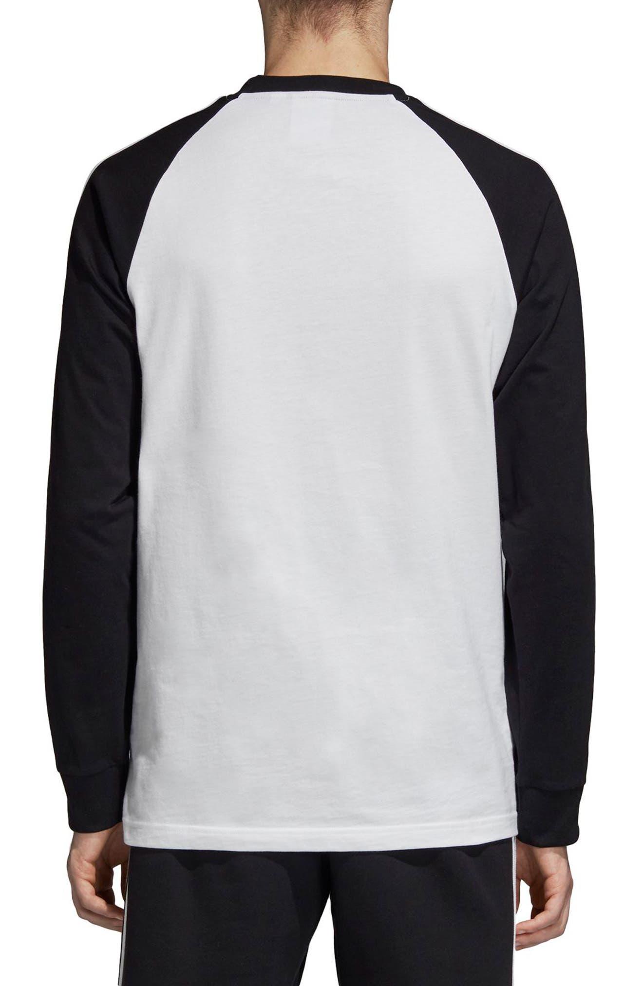 3-Stripes Long Sleeve T-Shirt,                             Alternate thumbnail 2, color,                             WHITE/ BLACK