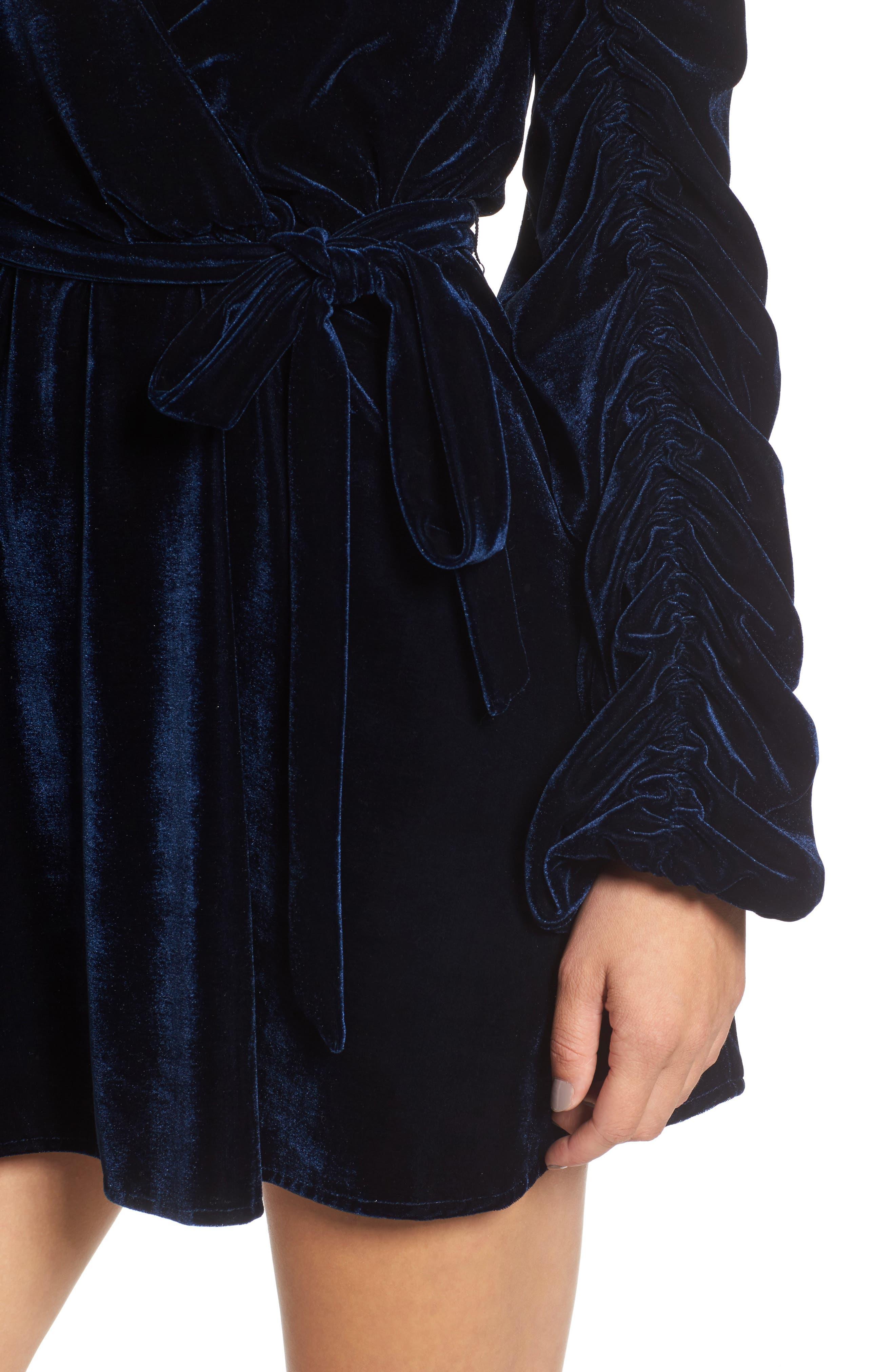 Tawney Velvet Wrap Dress,                             Alternate thumbnail 4, color,                             400