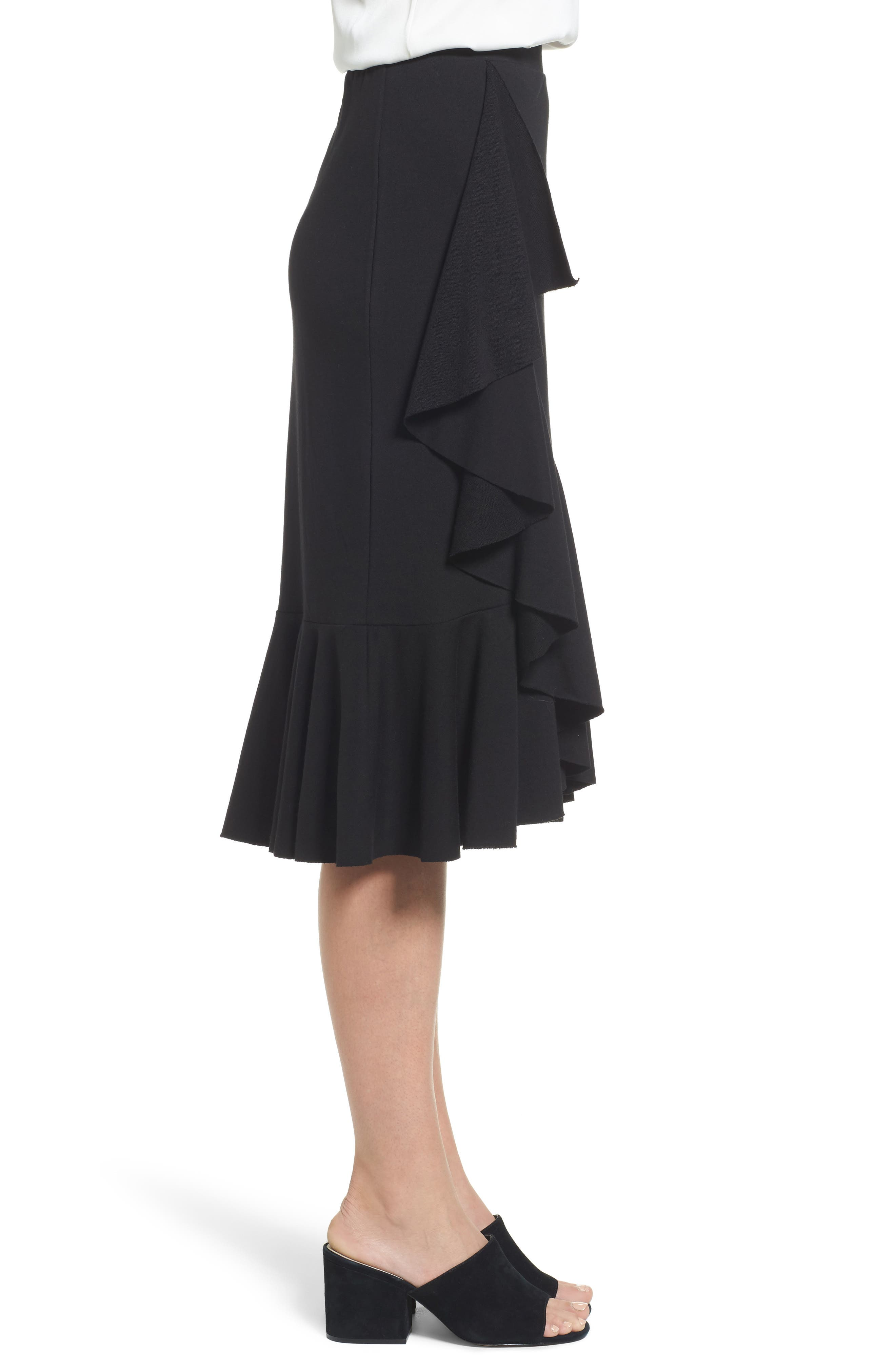 Ruffled Knit Skirt,                             Alternate thumbnail 3, color,                             001