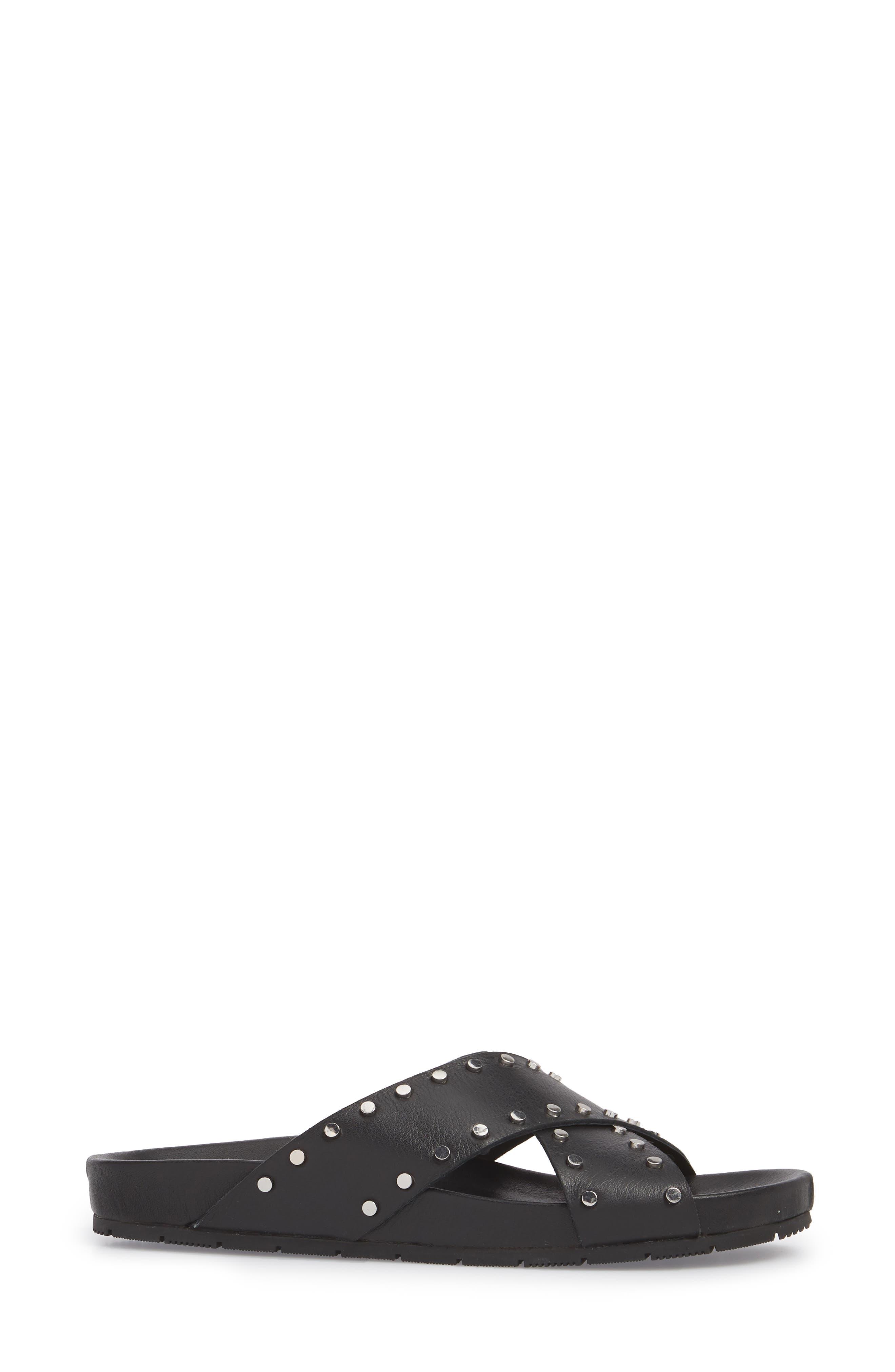 Ellie Studded Slide Sandal,                             Alternate thumbnail 3, color,                             015