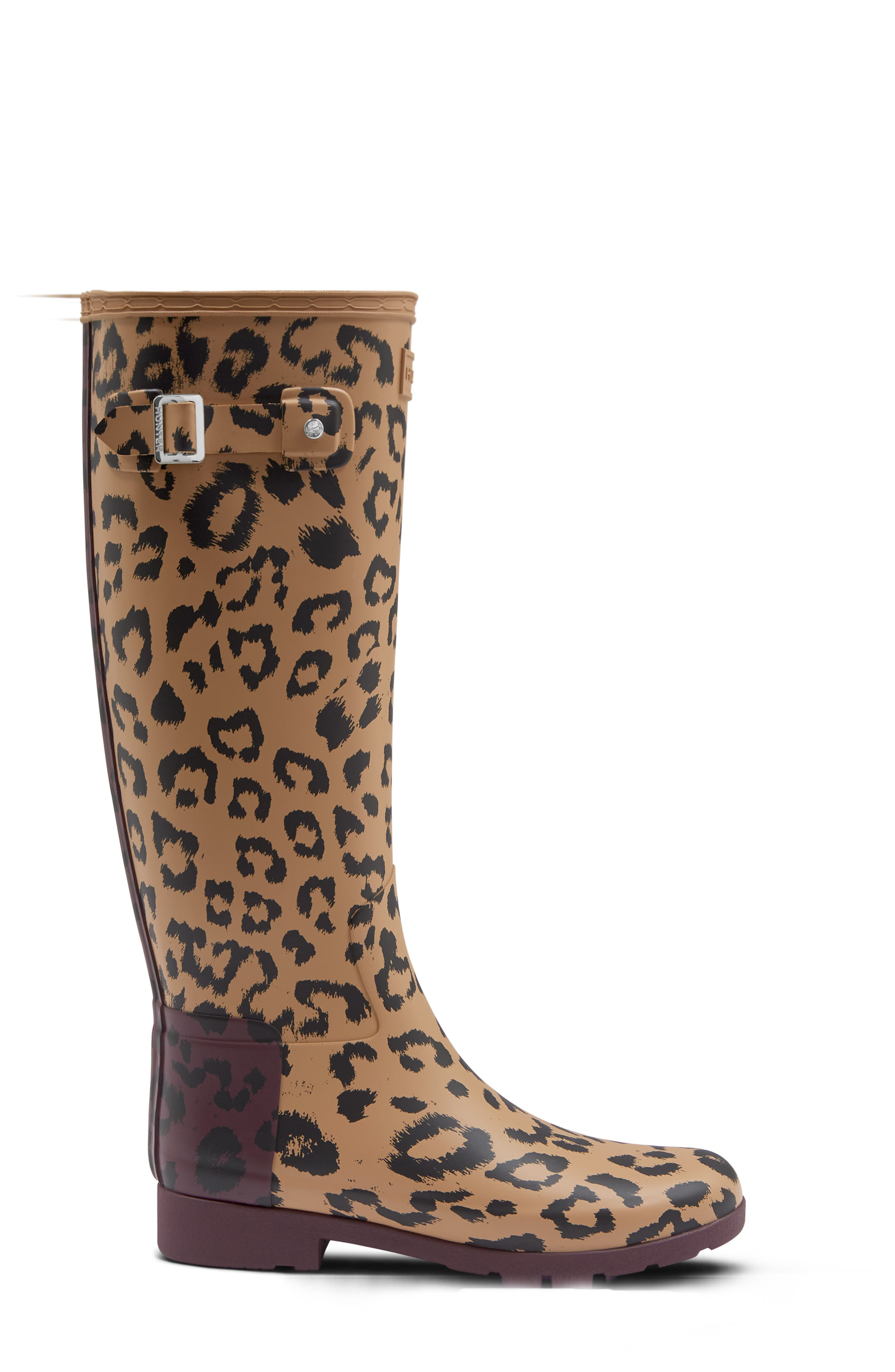 Original Leopard Print Refined Tall Waterproof Rain Boot,                             Alternate thumbnail 3, color,                             TAWNY/ OXBLOOD RUBBER
