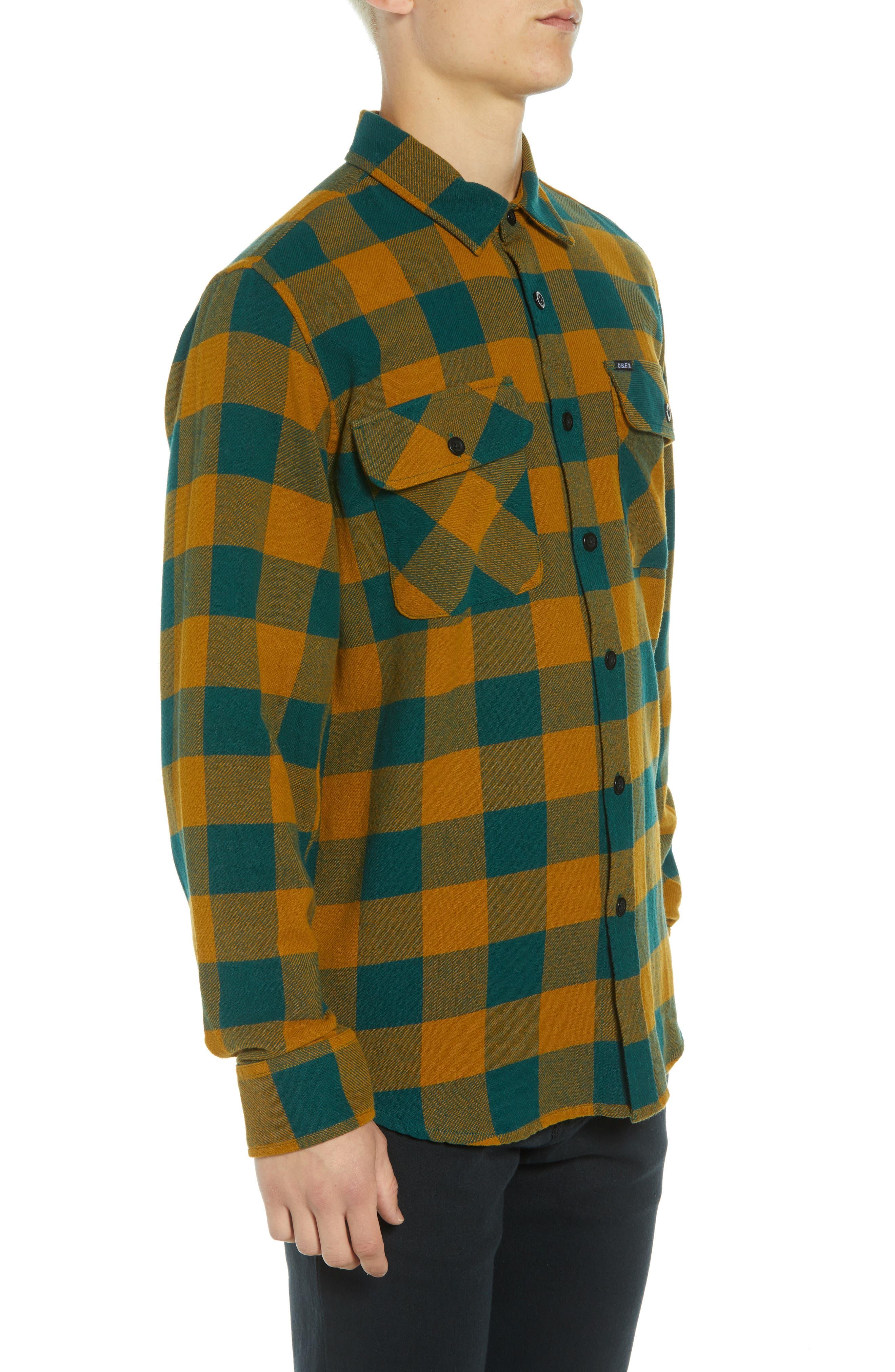 Vedder Buffalo Plaid Flannel Shirt,                             Alternate thumbnail 4, color,                             DARK TEAL MULTI