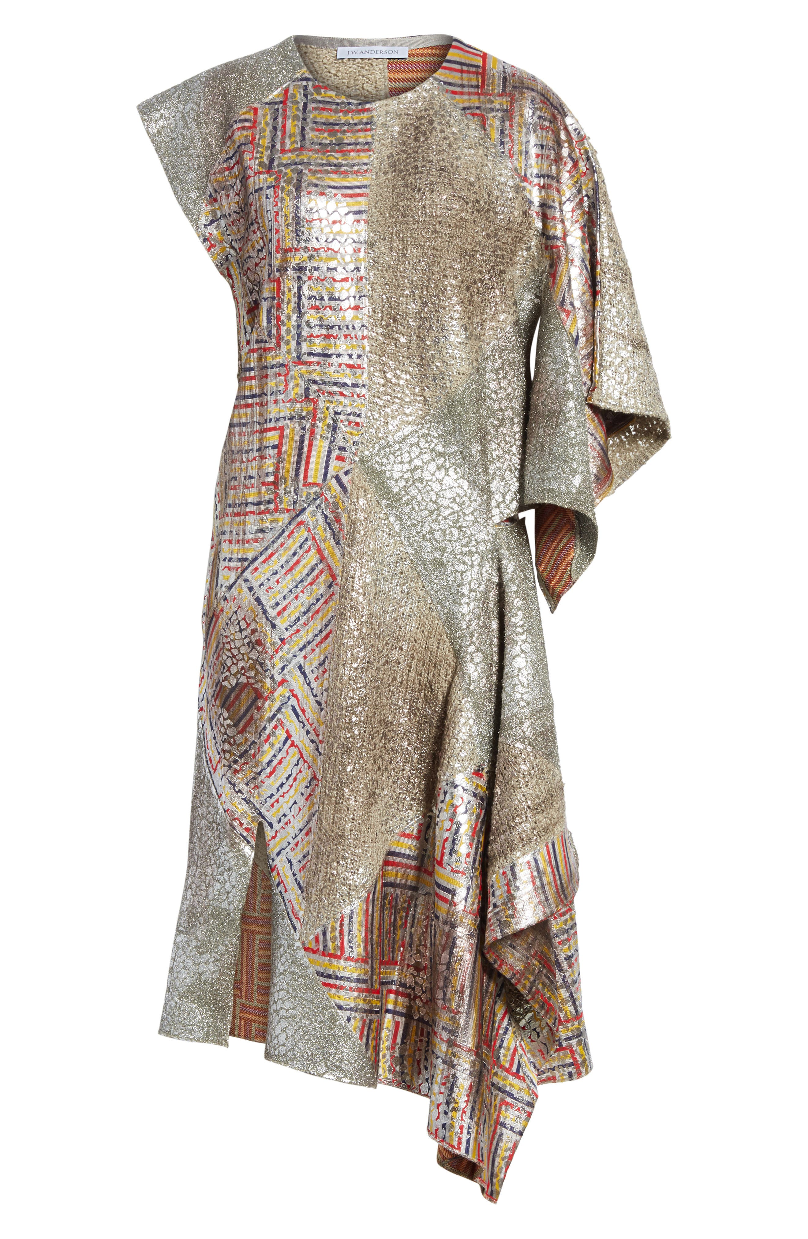 J.W.ANDERSON Geo Patterned Asymmetrical Draped Dress,                             Alternate thumbnail 6, color,                             040