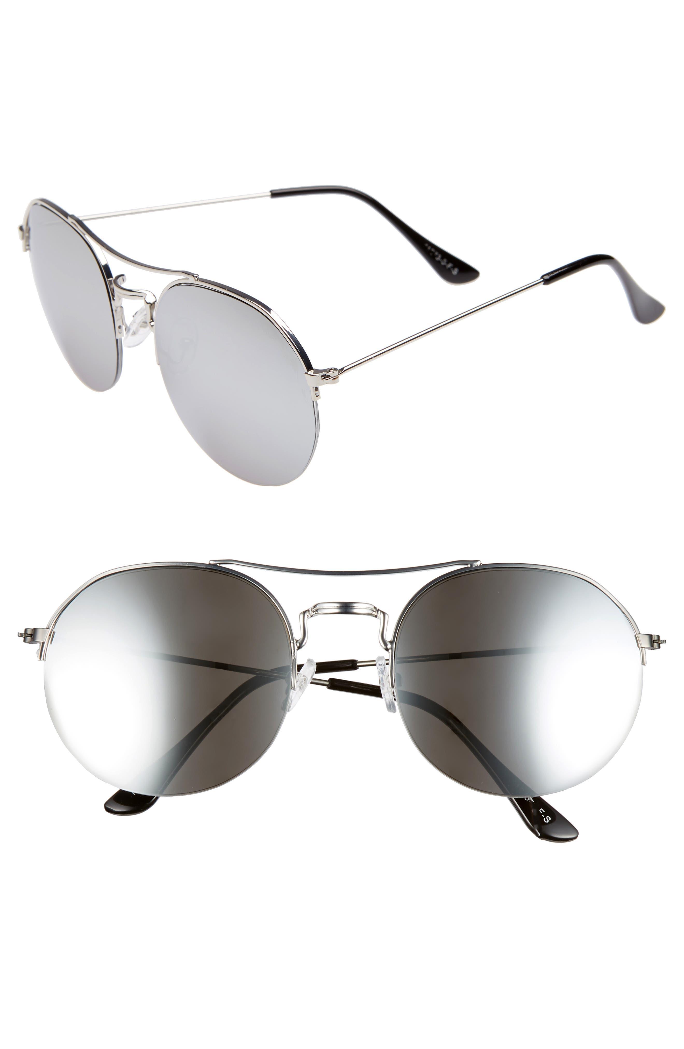 55mm Round Metal Aviator Sunglasses,                         Main,                         color, DARK GREY