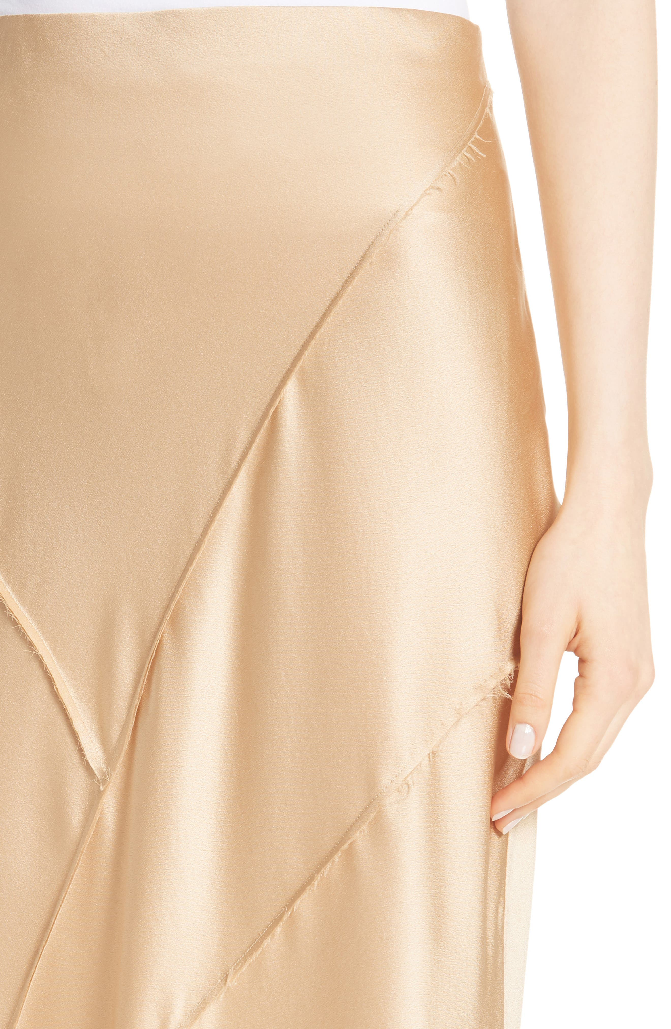 Raw Edge Bias Silk Skirt,                             Alternate thumbnail 4, color,                             GINSENG