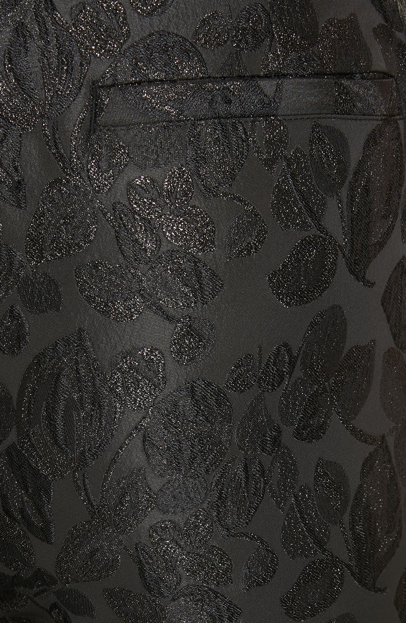 metallic tonal jacquard flare pants,                             Alternate thumbnail 5, color,                             BLACK