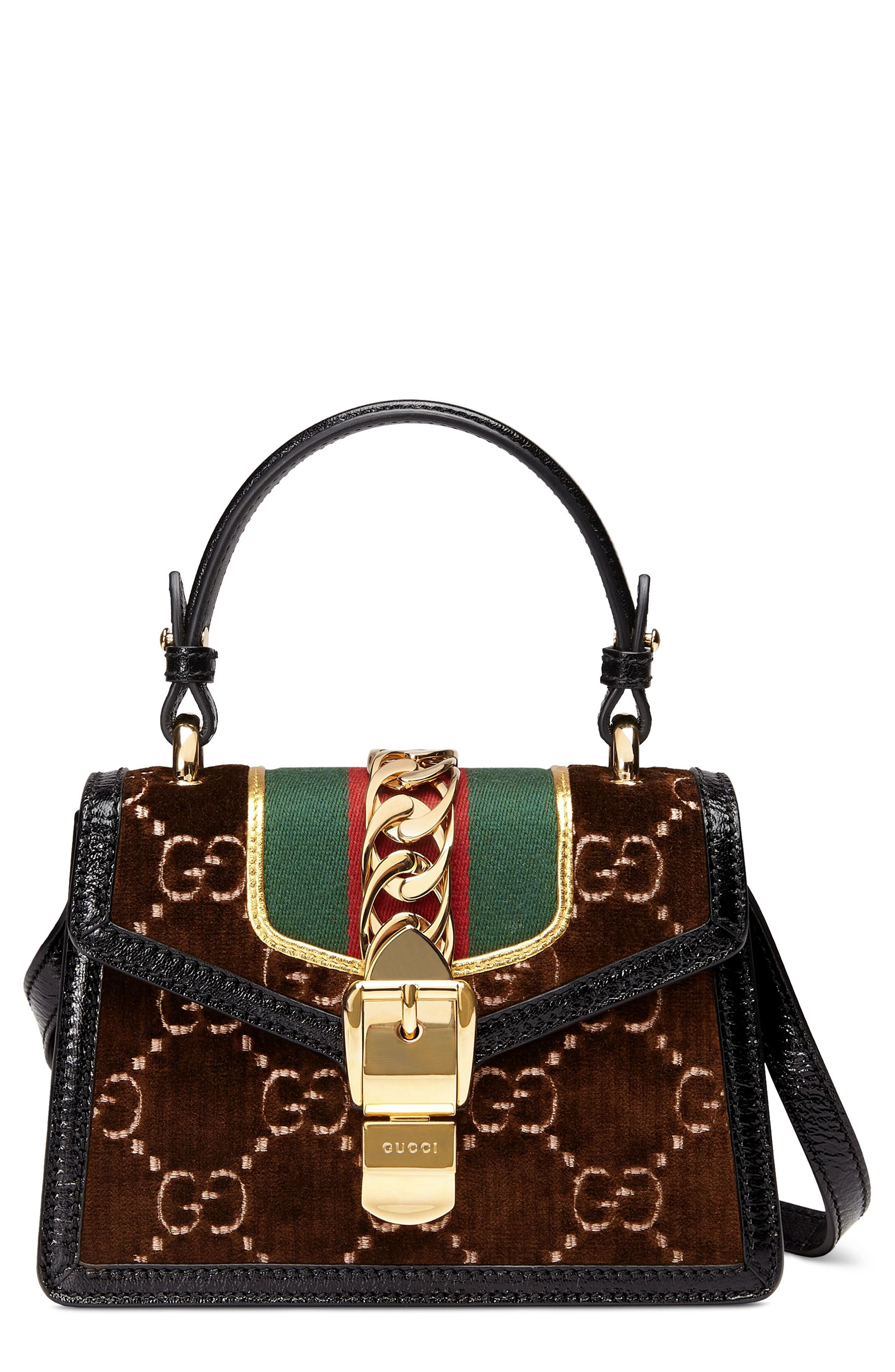 Mini Sylvie Velvet Top Handle Bag,                             Main thumbnail 1, color,                             BROWN/ NERO/ VERT RED VERT