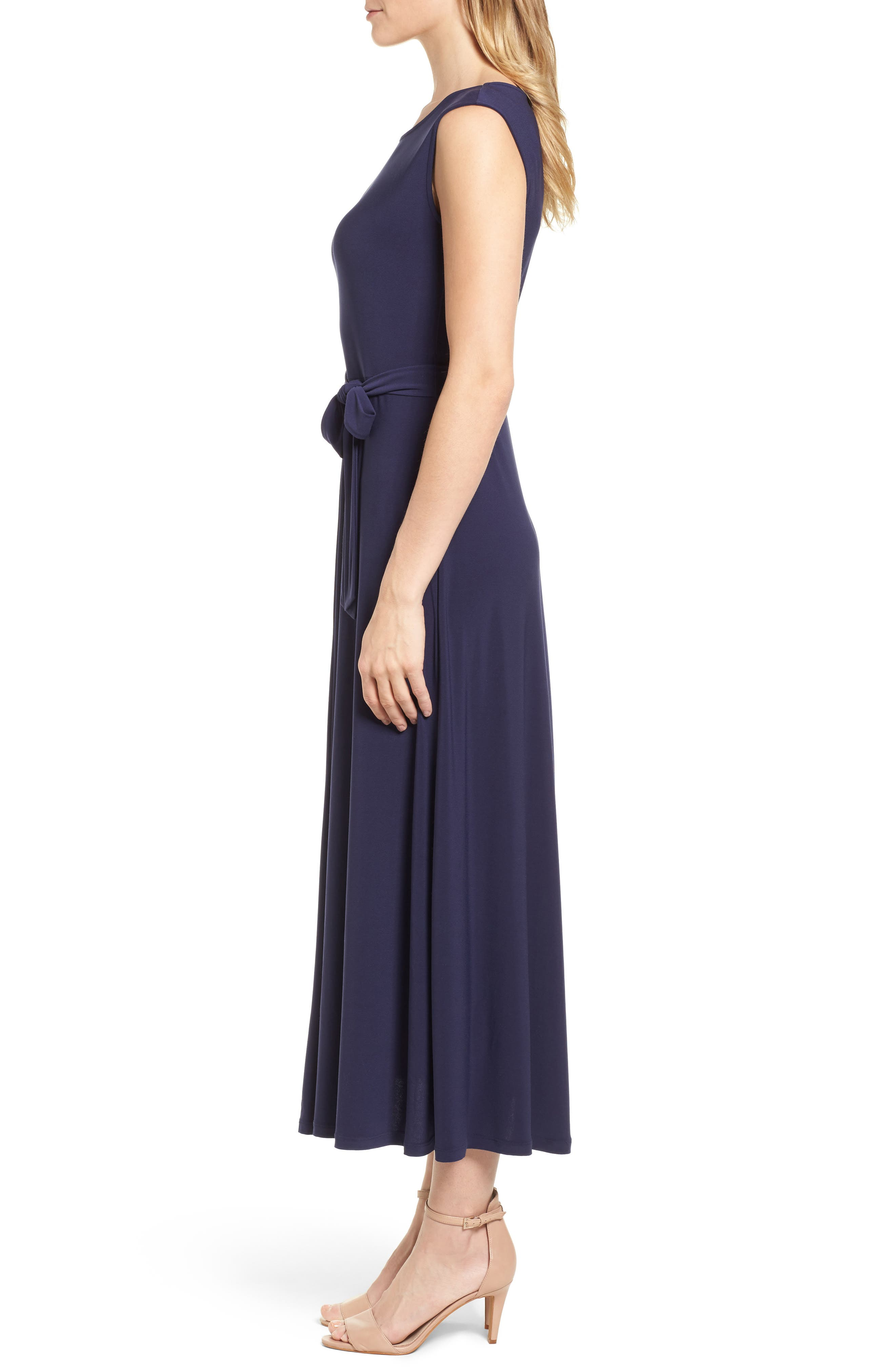 Cap Sleeve Tie Waist Maxi Dress,                             Alternate thumbnail 3, color,                             400