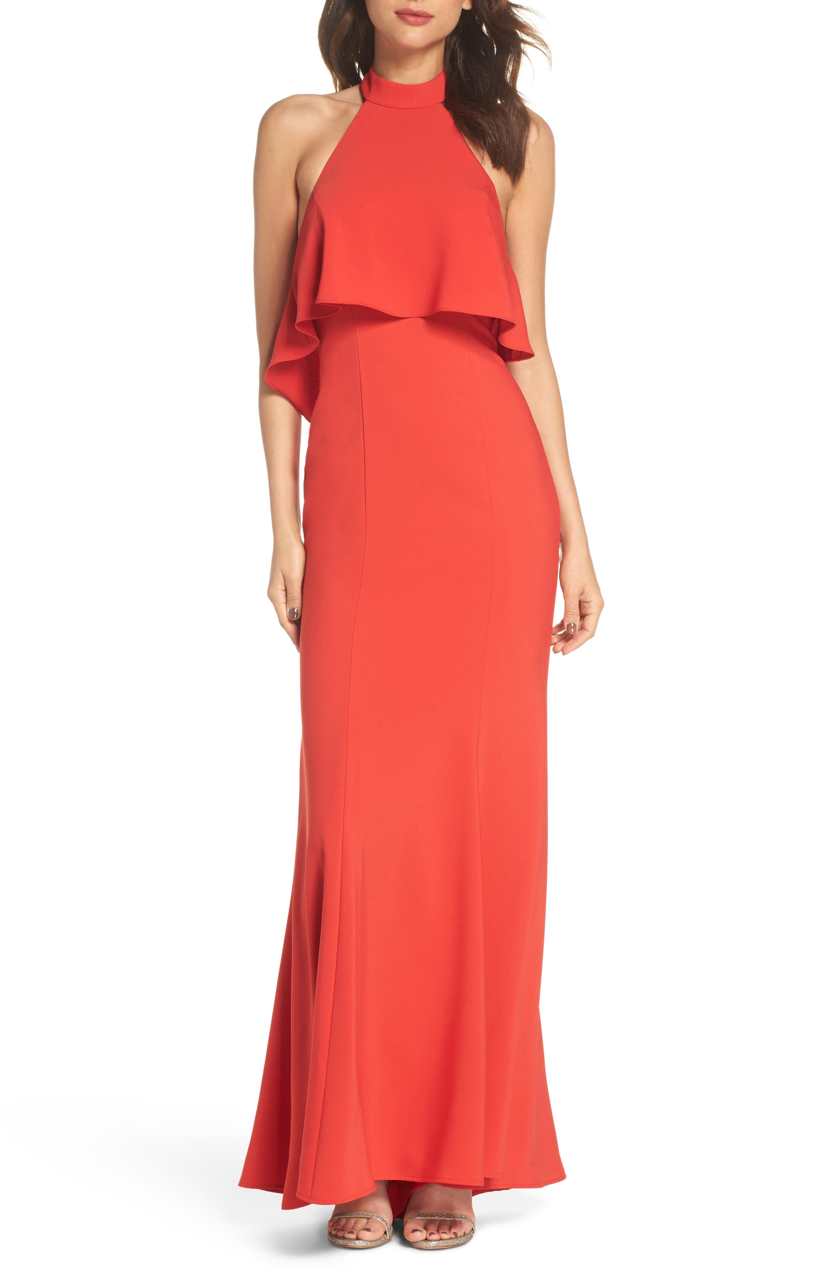 Crepe Popover Halter Gown,                             Main thumbnail 1, color,                             602