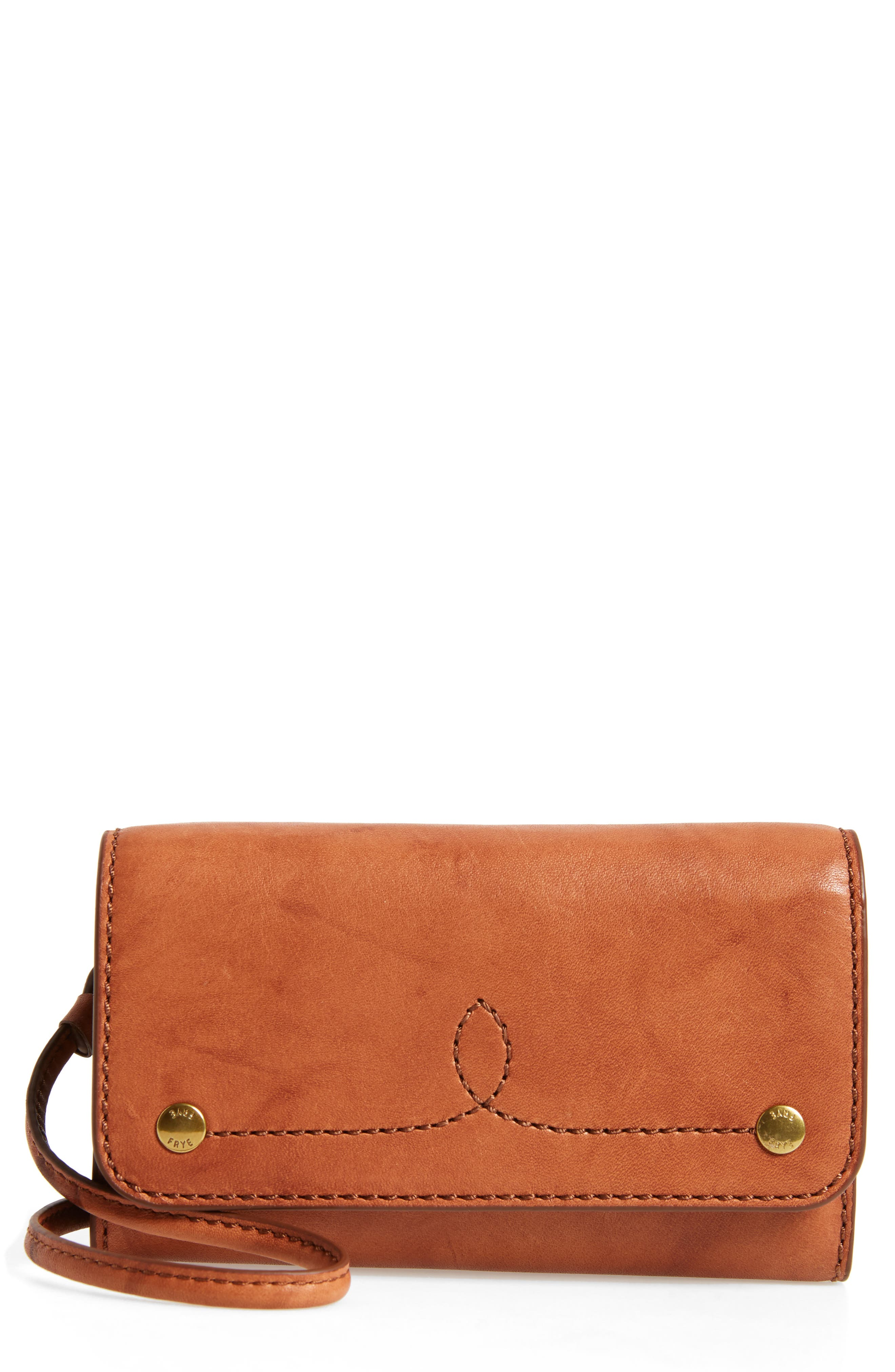Campus Rivet Leather Smartphone Wallet with Crossbody Strap,                             Main thumbnail 2, color,