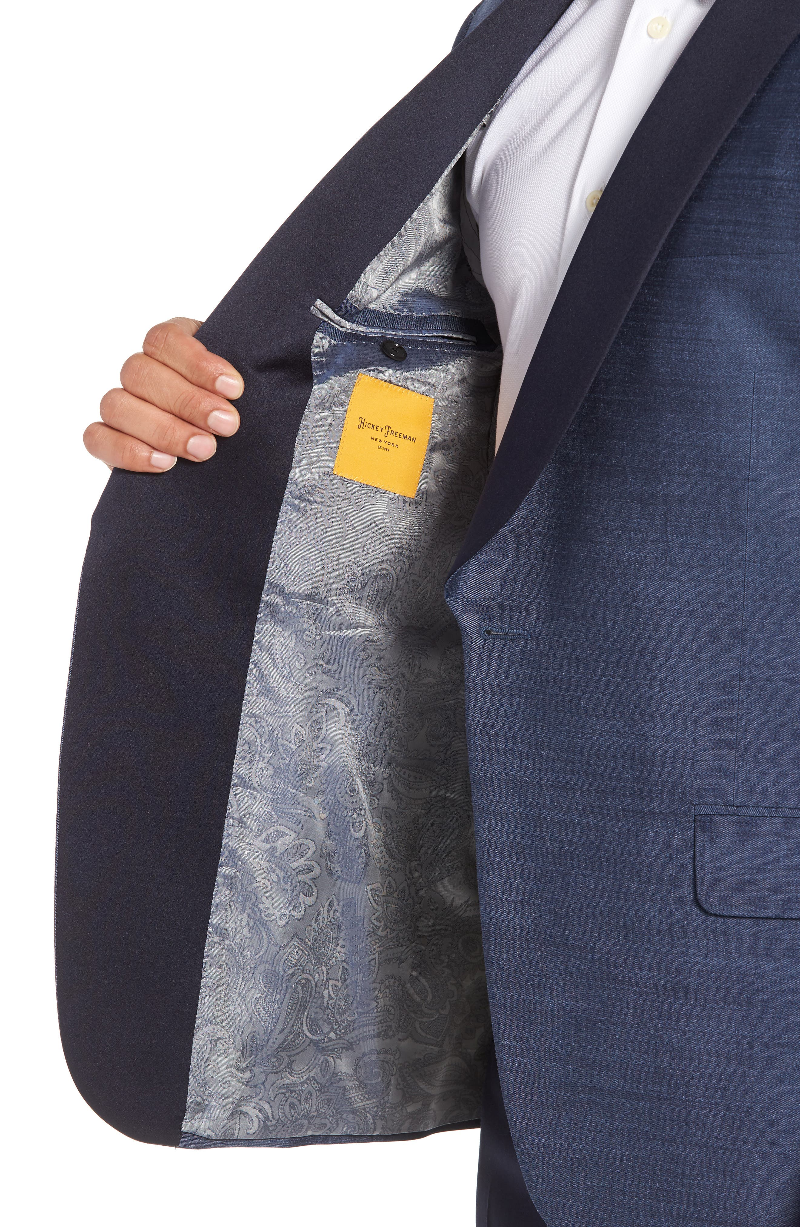 Classic B Fit Silk Dinner Jacket,                             Alternate thumbnail 4, color,                             SLATE BLUE SOLID