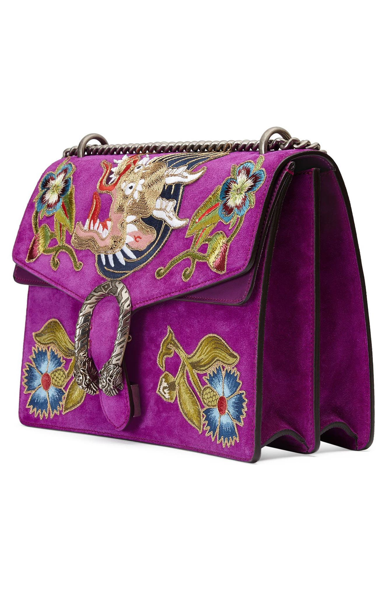 Dionysus Suede Shoulder Bag,                             Alternate thumbnail 4, color,                             PURPLE/MULTI