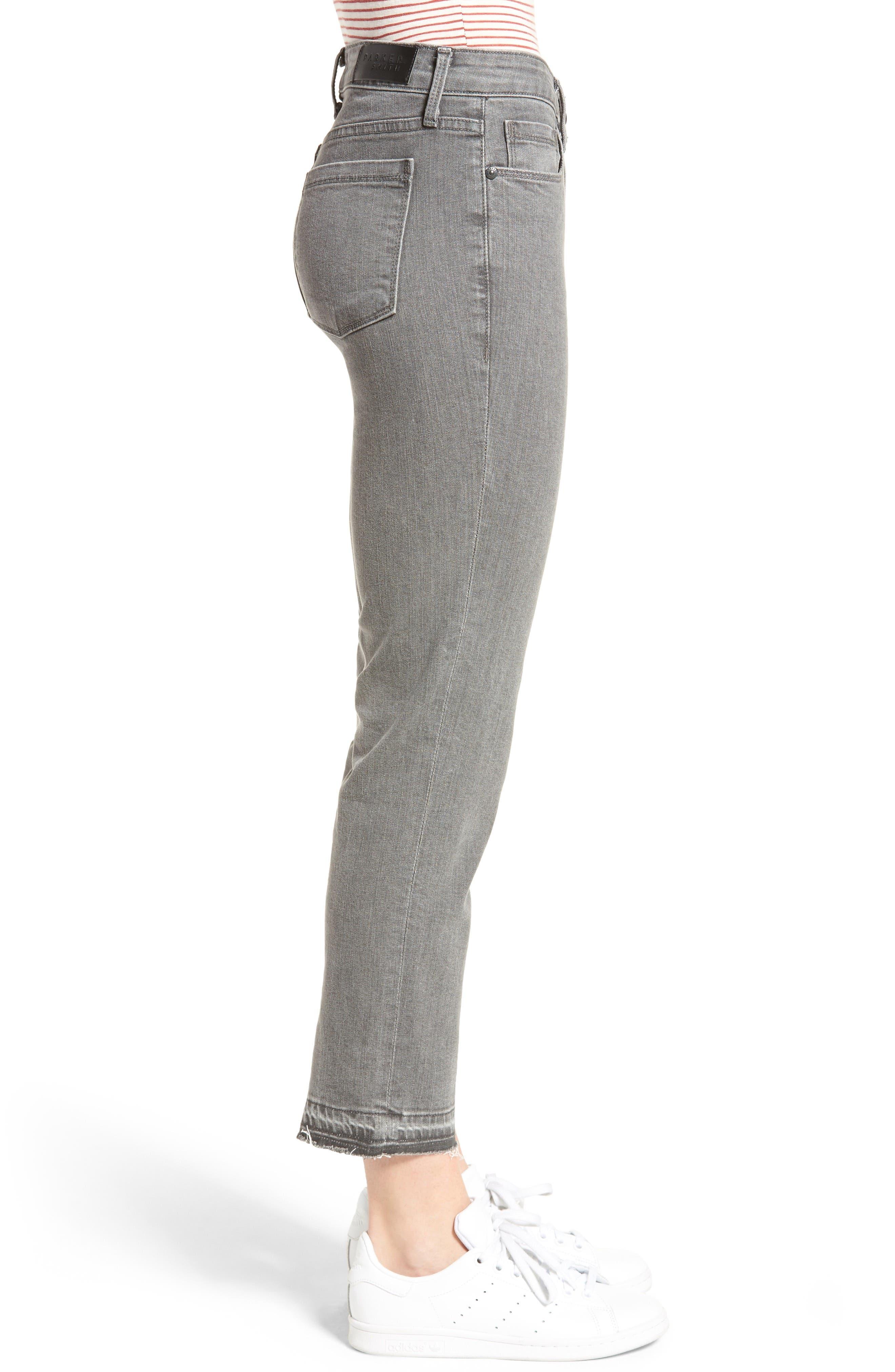 Frayed Release Hem Crop Straight Leg Jeans,                             Alternate thumbnail 3, color,                             032