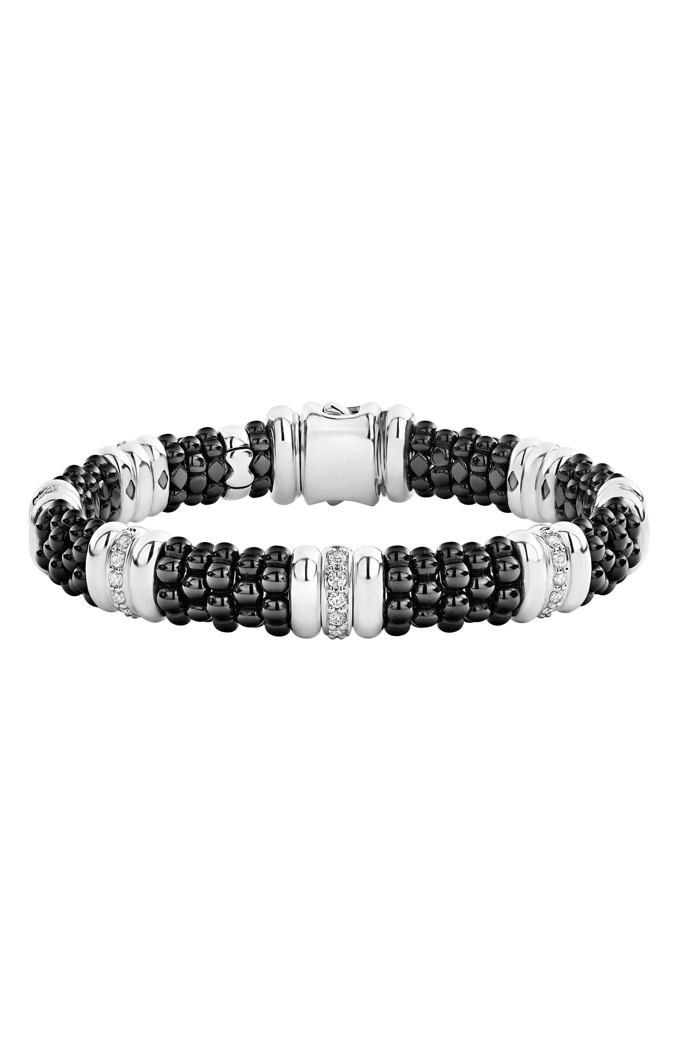 LAOGS Black Caviar Diamond 7-Link Bracelet,                         Main,                         color, SILVER