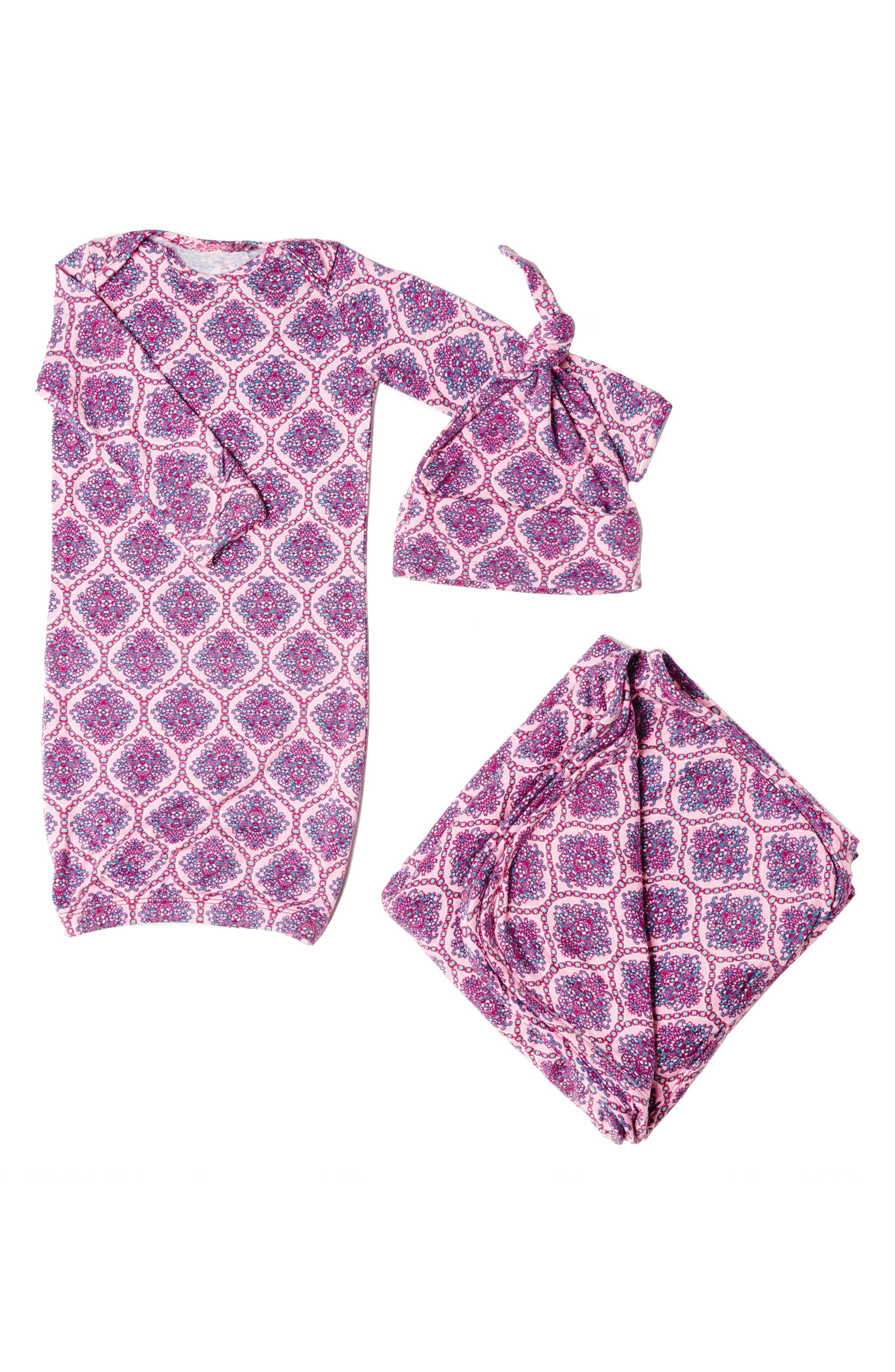 Gown, Hat & Blanket Set,                         Main,                         color, 503