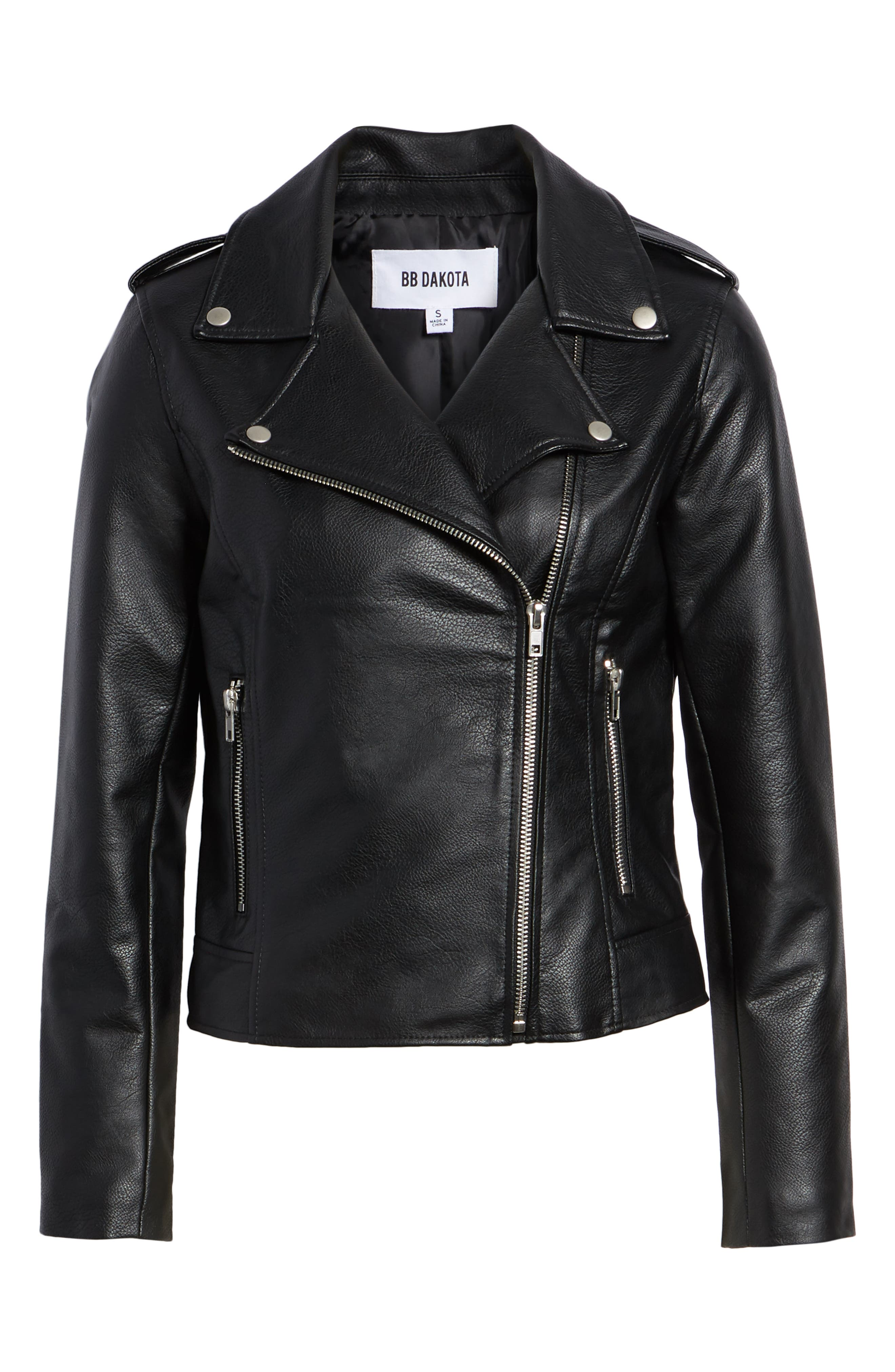Just Ride Faux Leather Jacket,                             Alternate thumbnail 6, color,                             BLACK