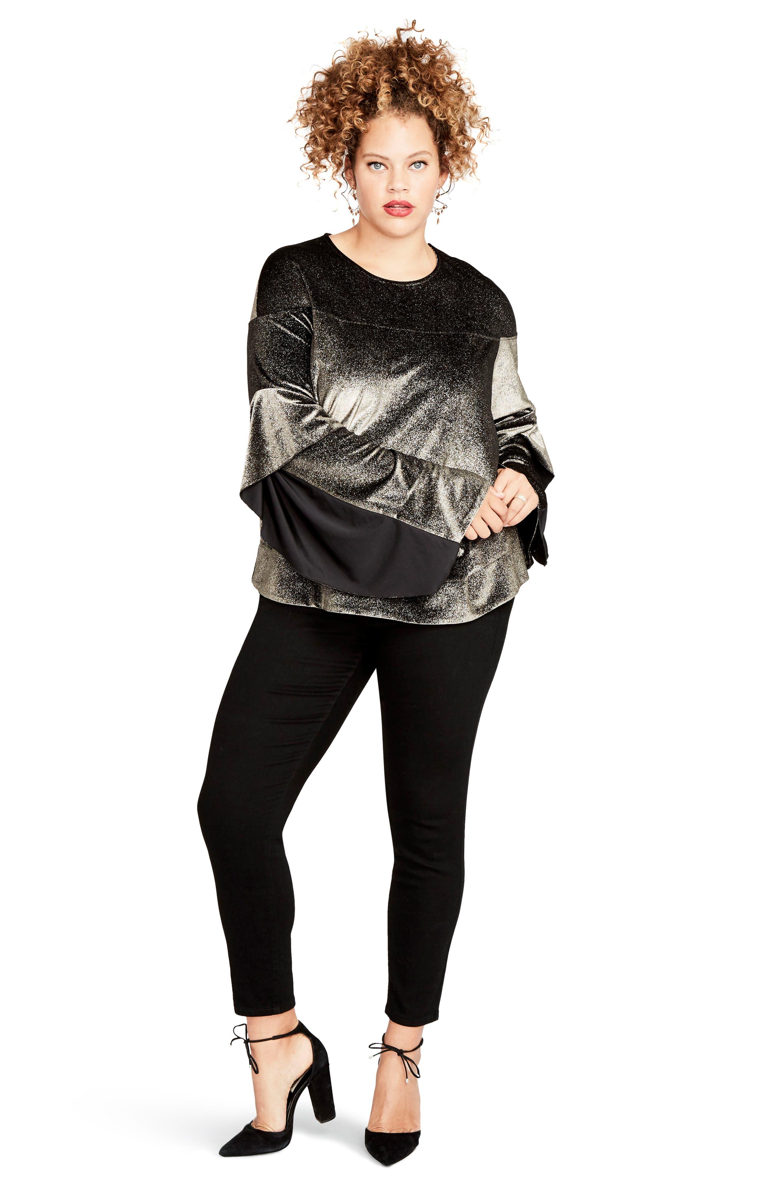 Ruffle Sleeve Metallic Sweatshirt,                             Alternate thumbnail 4, color,                             223