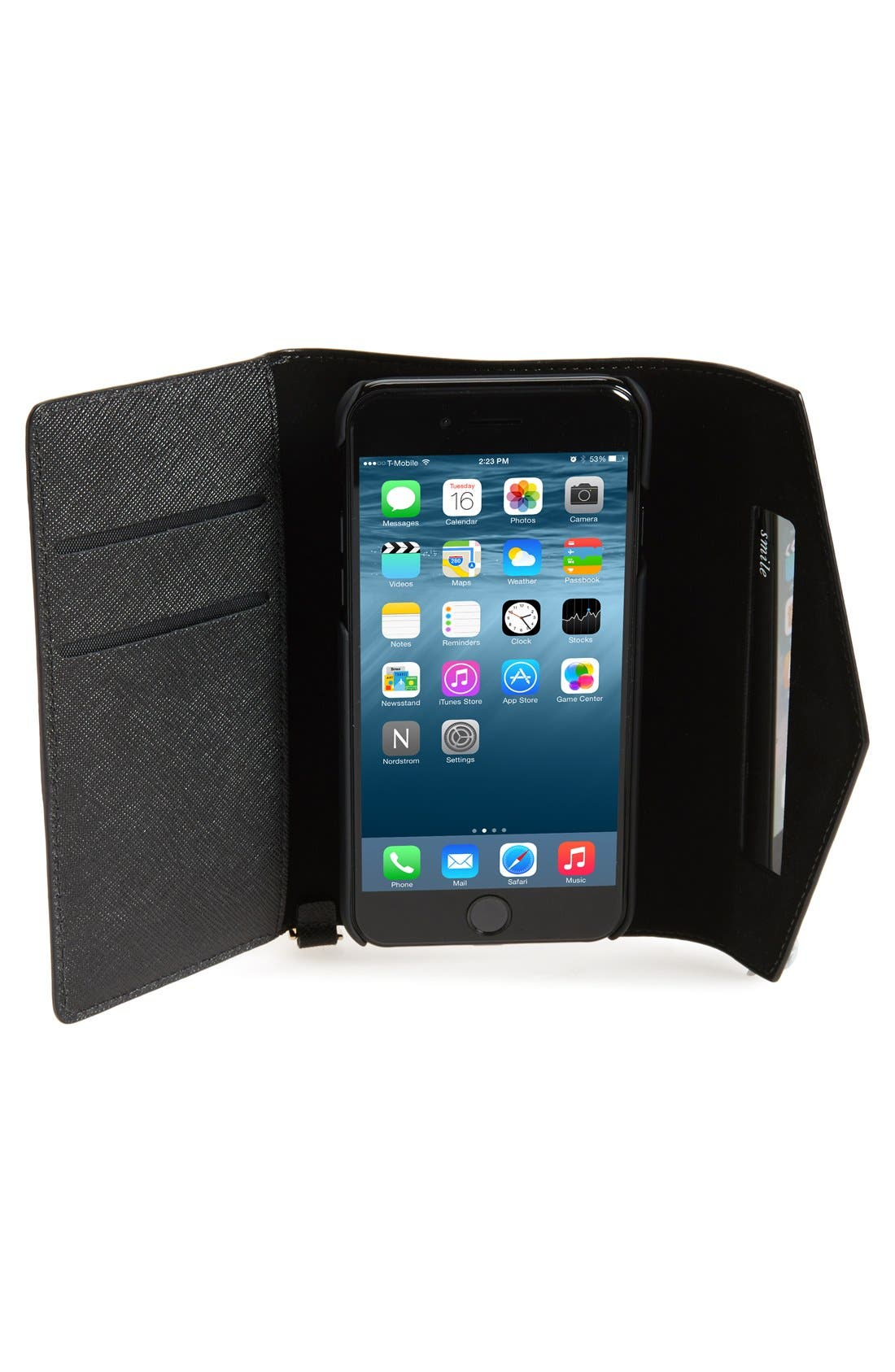 iPhone 7/8 & 7/8 Plus leather wristlet,                             Alternate thumbnail 7, color,                             BLACK