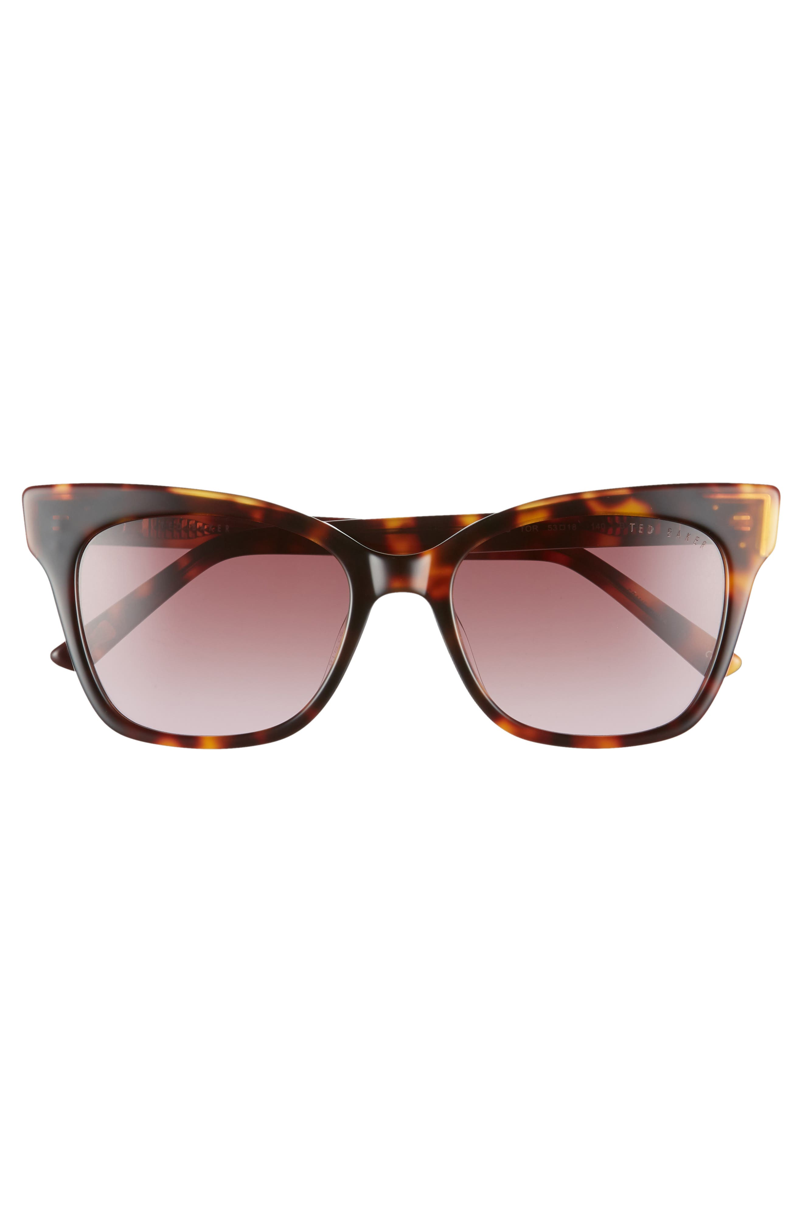 53mm Square Cat Eye Sunglasses,                             Alternate thumbnail 3, color,                             TORTOISE