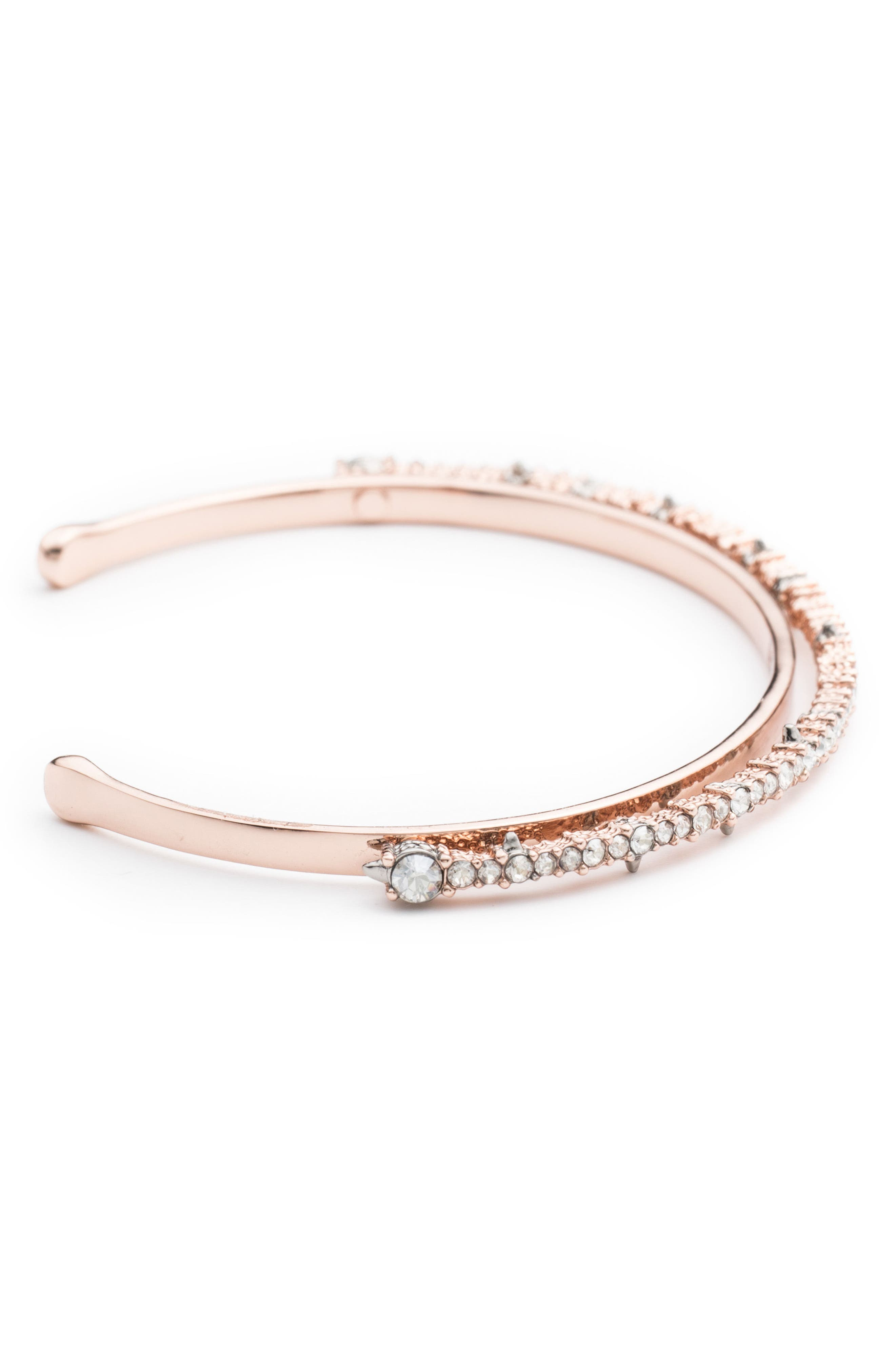 Crystal Lace Orbiting Wrist Cuff,                             Alternate thumbnail 3, color,                             ROSE GOLD