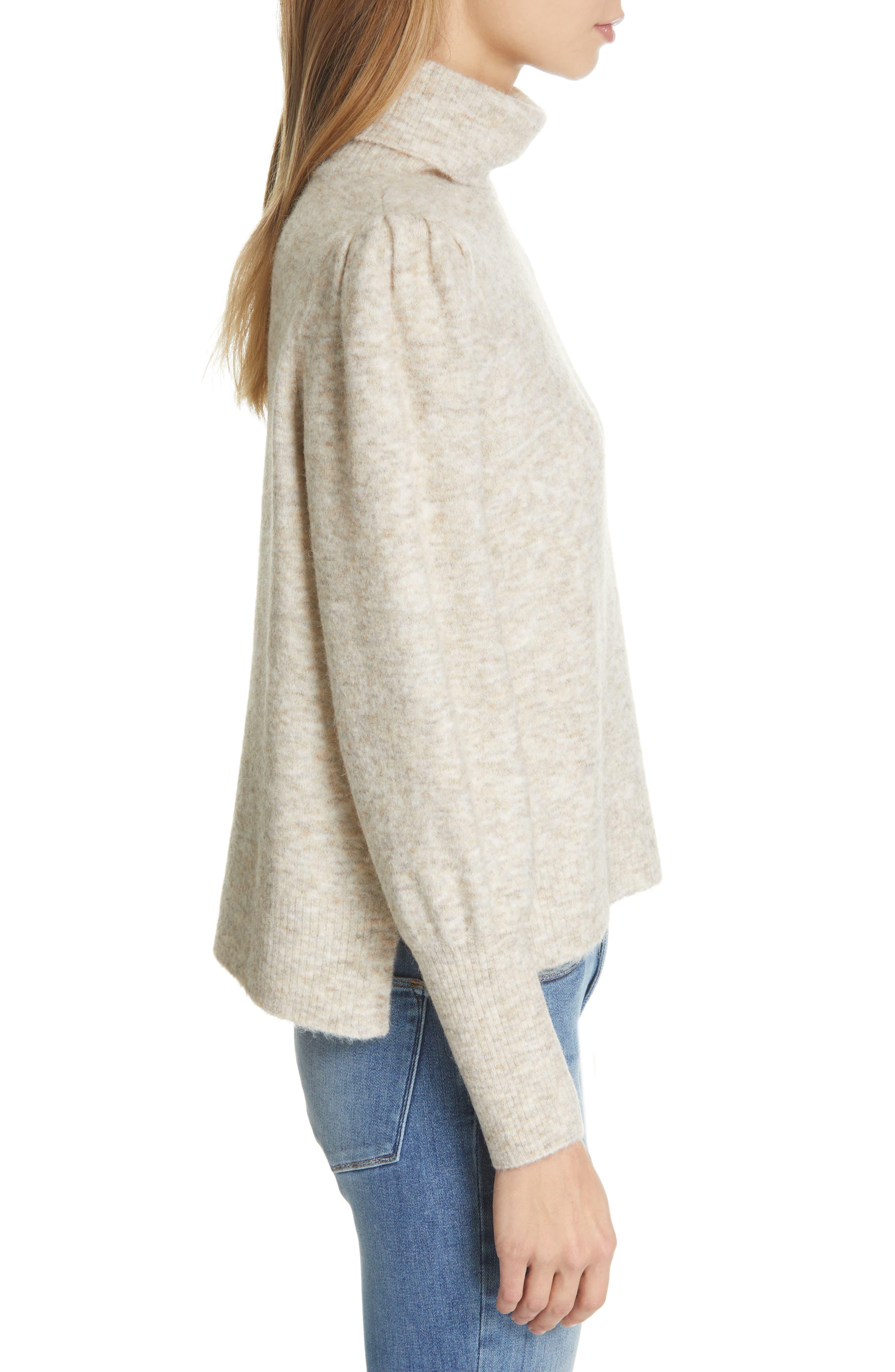 Swingy Turtleneck Sweater,                             Alternate thumbnail 3, color,                             OATMEAL