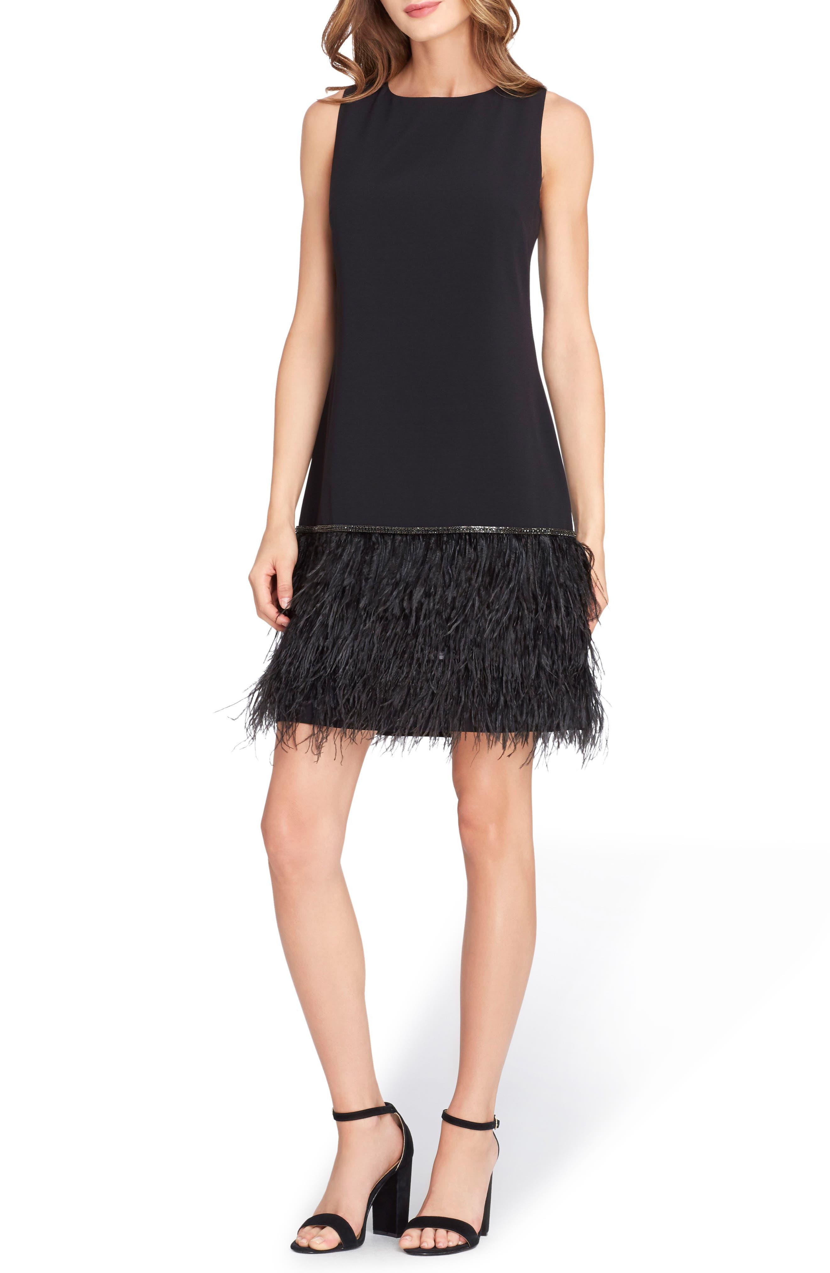 Crystal Feather Hem Shift Dress,                             Main thumbnail 1, color,                             BLACK