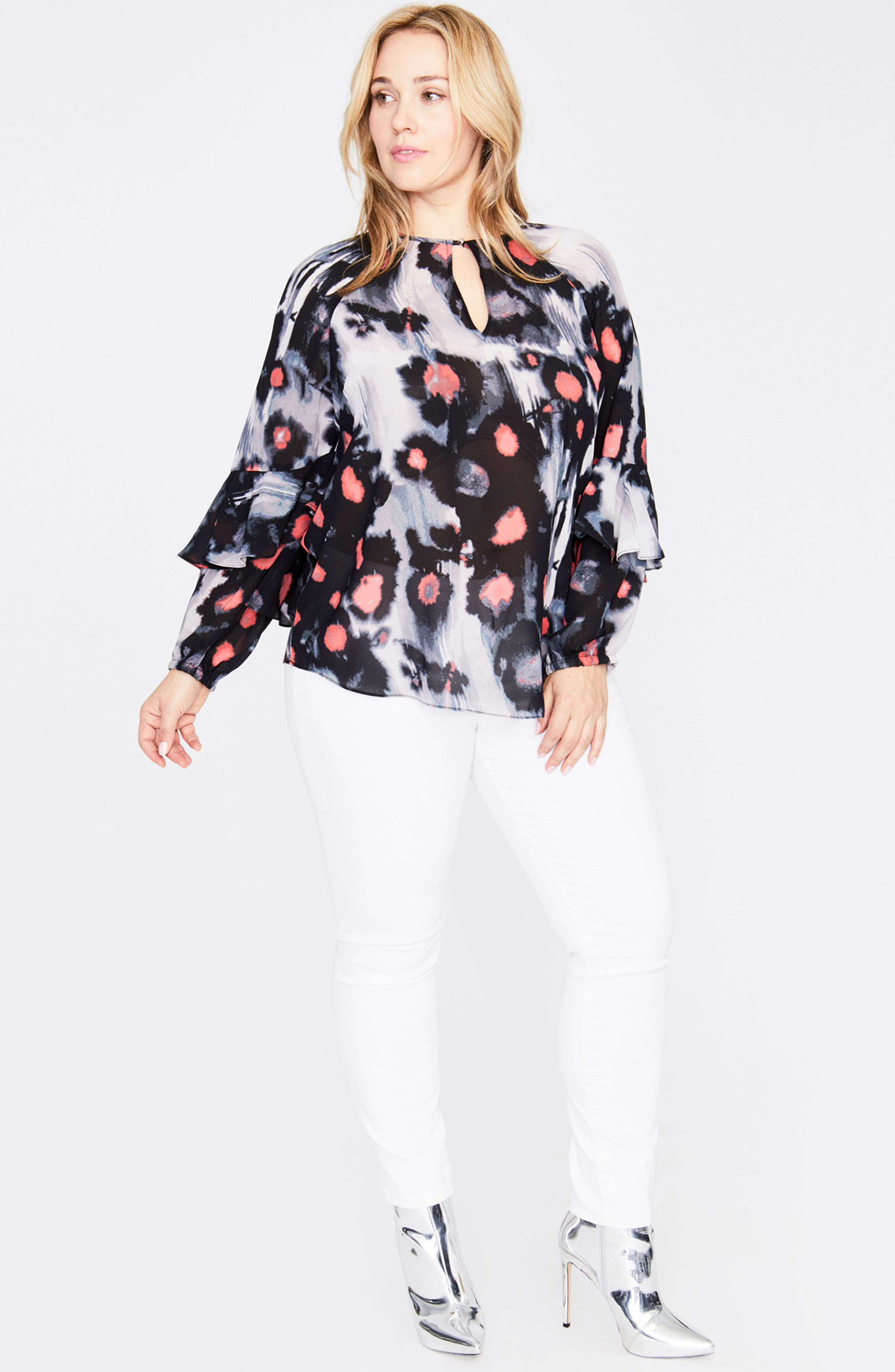 Inkdrop Ruffle Top,                             Alternate thumbnail 3, color,                             INK DROP FLORAL