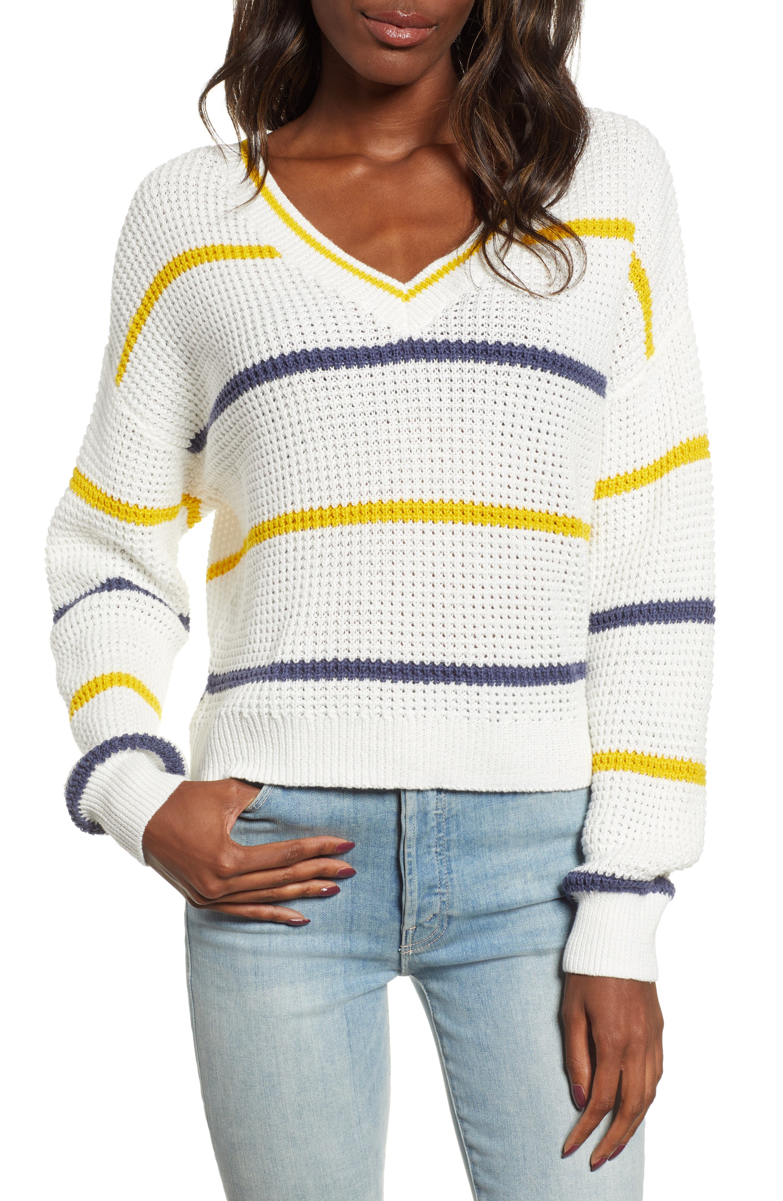 BP.,                             Stripe Cotton Thermal Sweater,                             Main thumbnail 1, color,                             IVORY SEA STRIPE