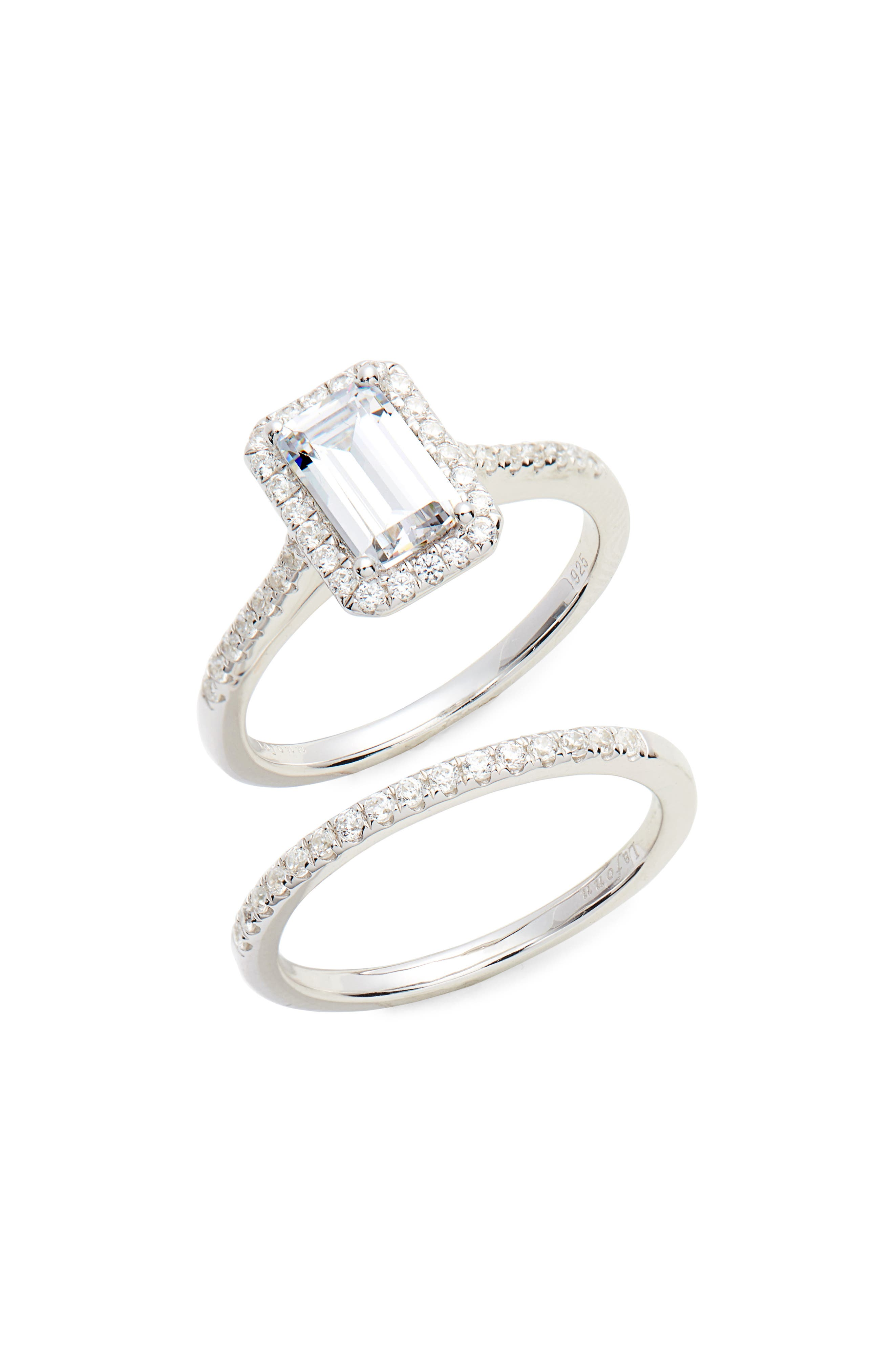 LAFONN Emerald Cut Halo Engagement Ring & Wedding Band Set, Main, color, SILVER/ CLEAR